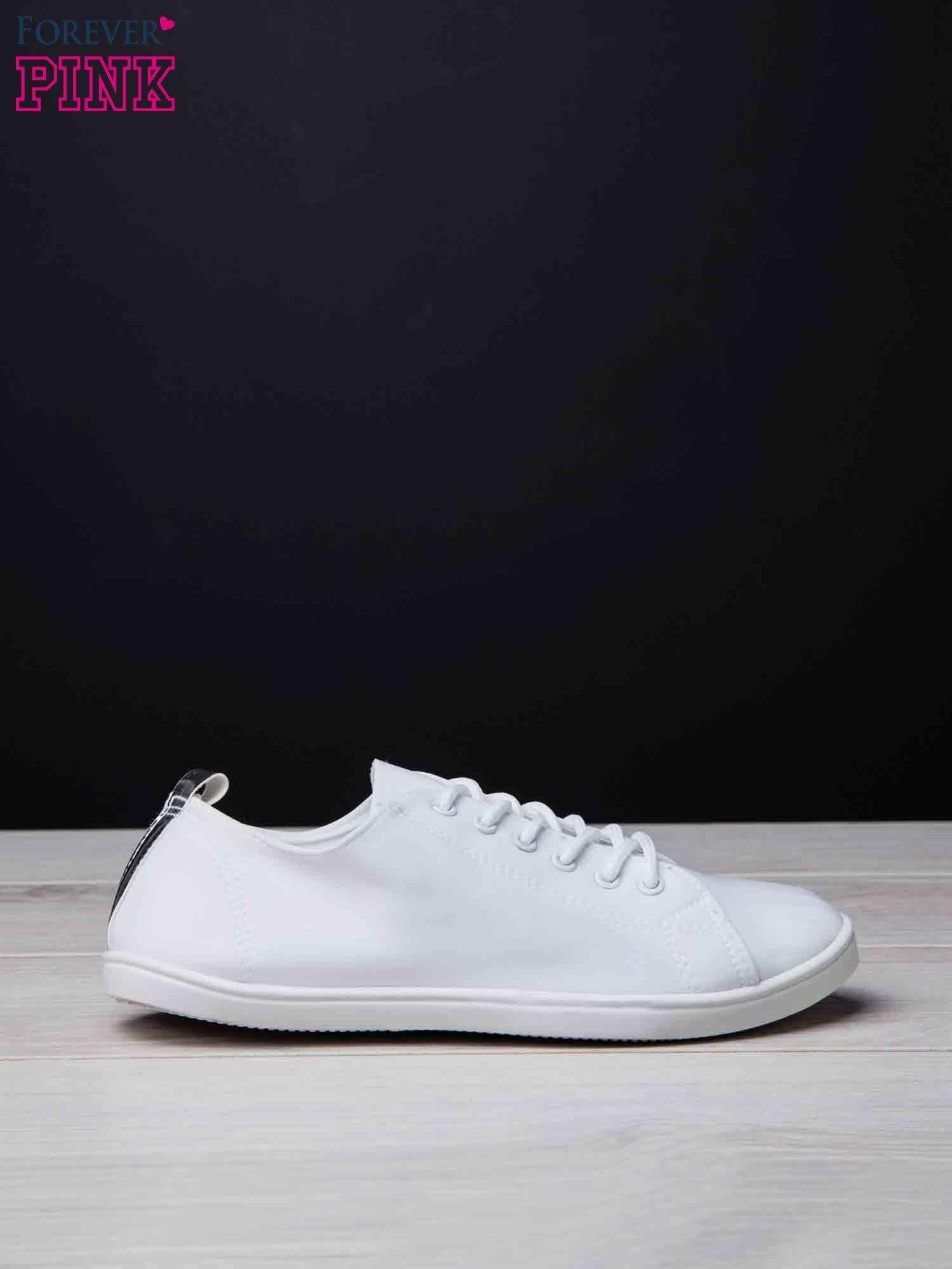 Białe trampki do kostek ze srebrnym paskiem z tyłu Neon                                  zdj.                                  2