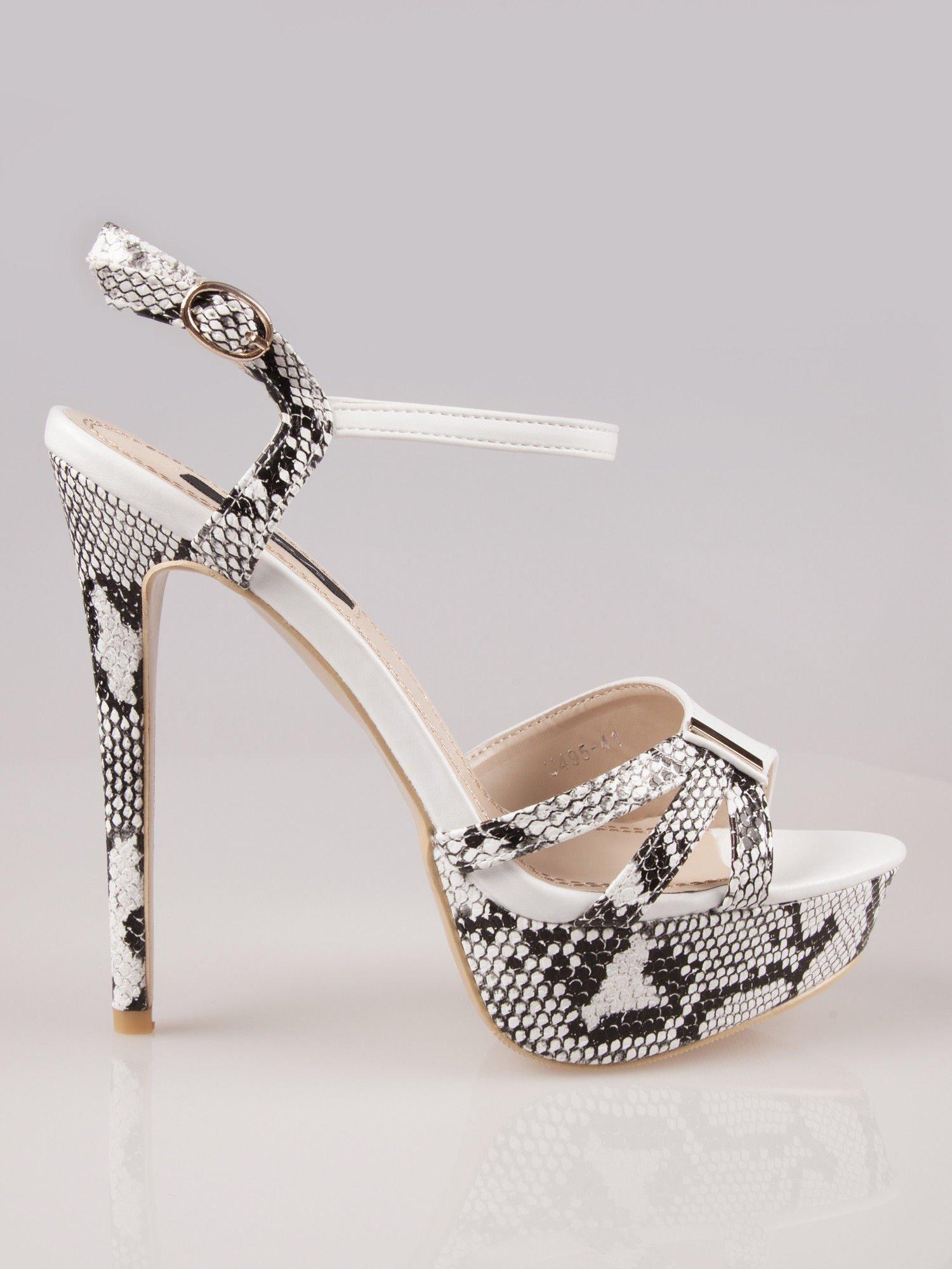 Białe wężowe sandały na szpilce zapinane na kostce Amber                                  zdj.                                  1