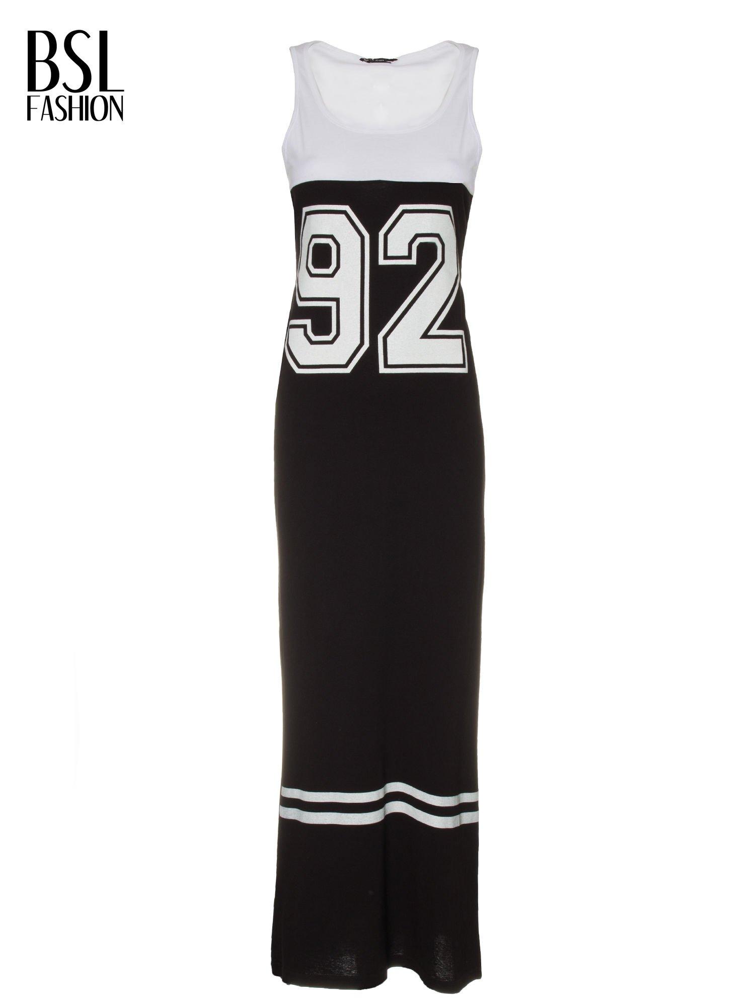 Biało-czarna sukienka maxi z numerem 92 w stylu baseball dress                                  zdj.                                  5