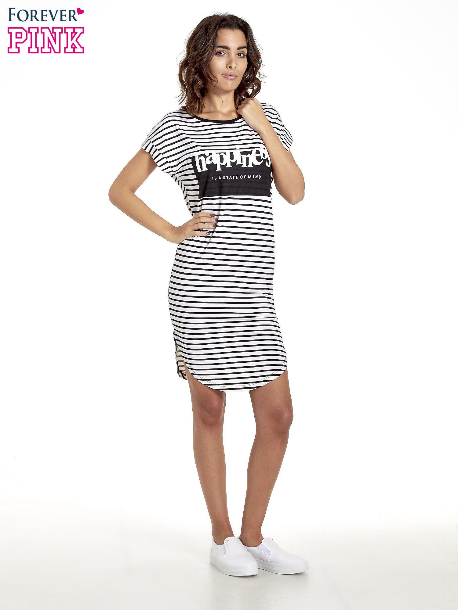 Biało-czarna sukienka w paski z napisem HAPPINESS                                  zdj.                                  8