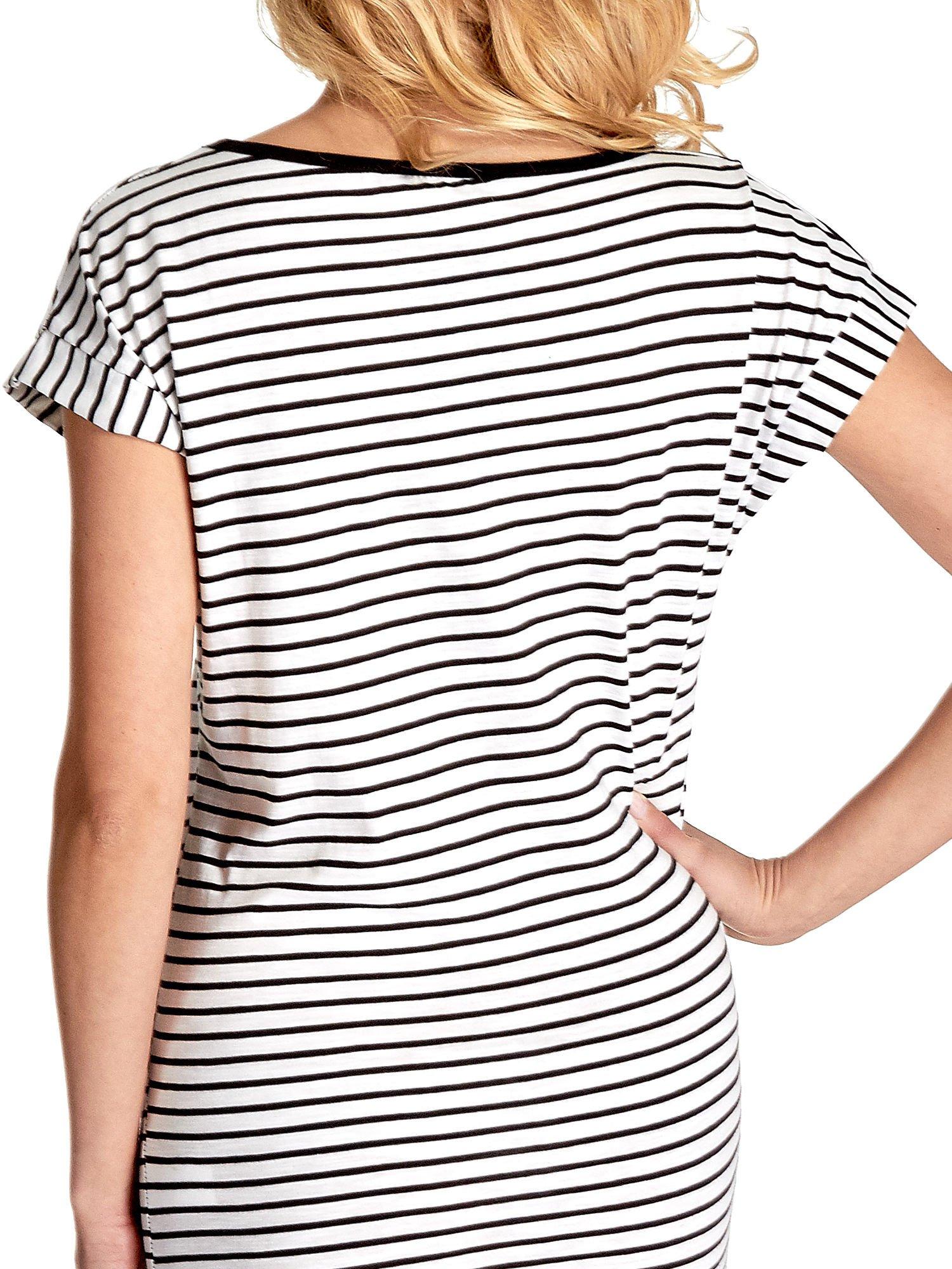 Biało-czarna sukienka w paski z napisem I DON'T THINK ABOUT IT!                                  zdj.                                  6