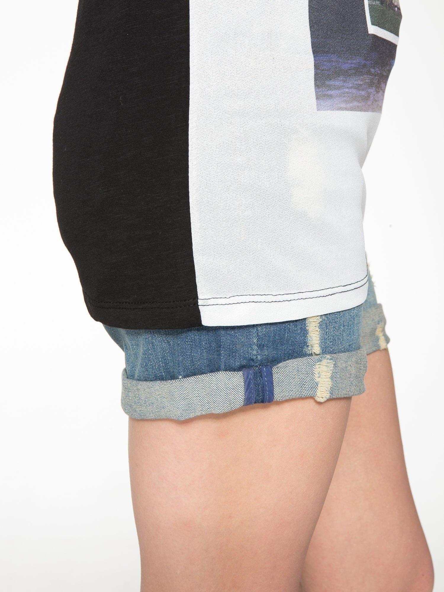 Biało-czarny t-shirt z nadrukiem wieży Eiffla                                   zdj.                                  9