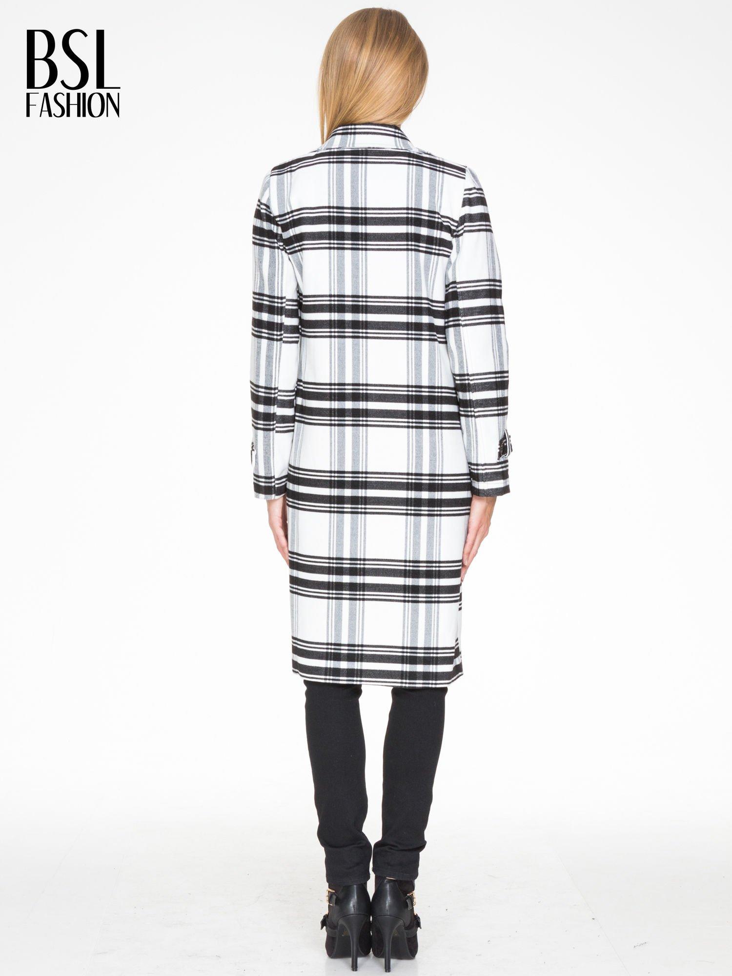 Biało-czarny wełniany płaszcz w kratę zapinany na jeden guzik                                  zdj.                                  2