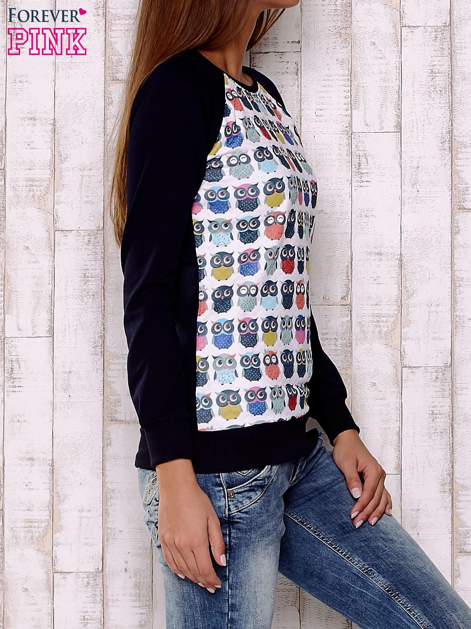 Biało-granatowa bluza z sowami                                  zdj.                                  3