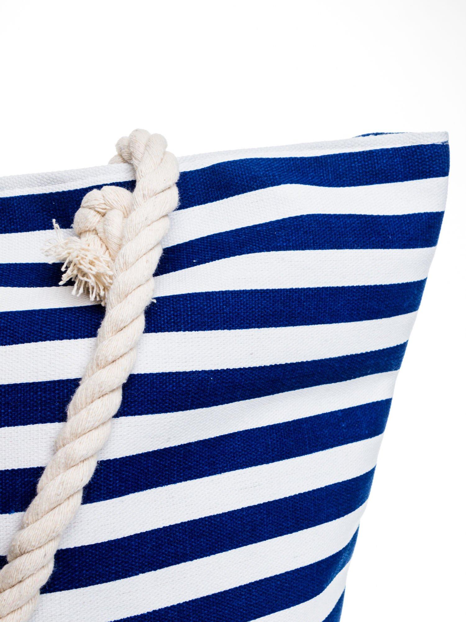 Biało-granatowa torba plażowa w paski                                  zdj.                                  8