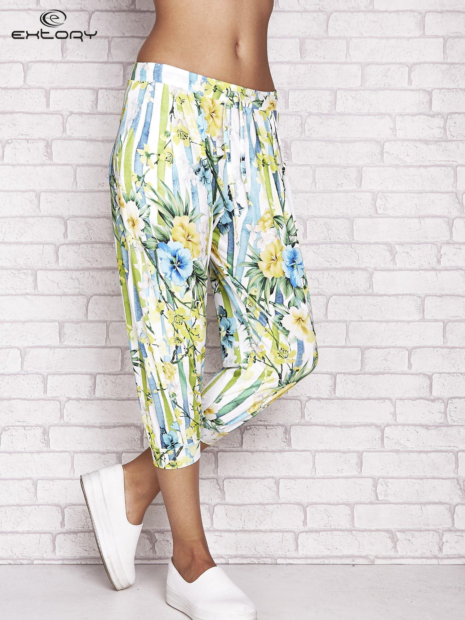 Biało-niebieskie spodnie capri z motywem pasków i kwiatów                                  zdj.                                  1