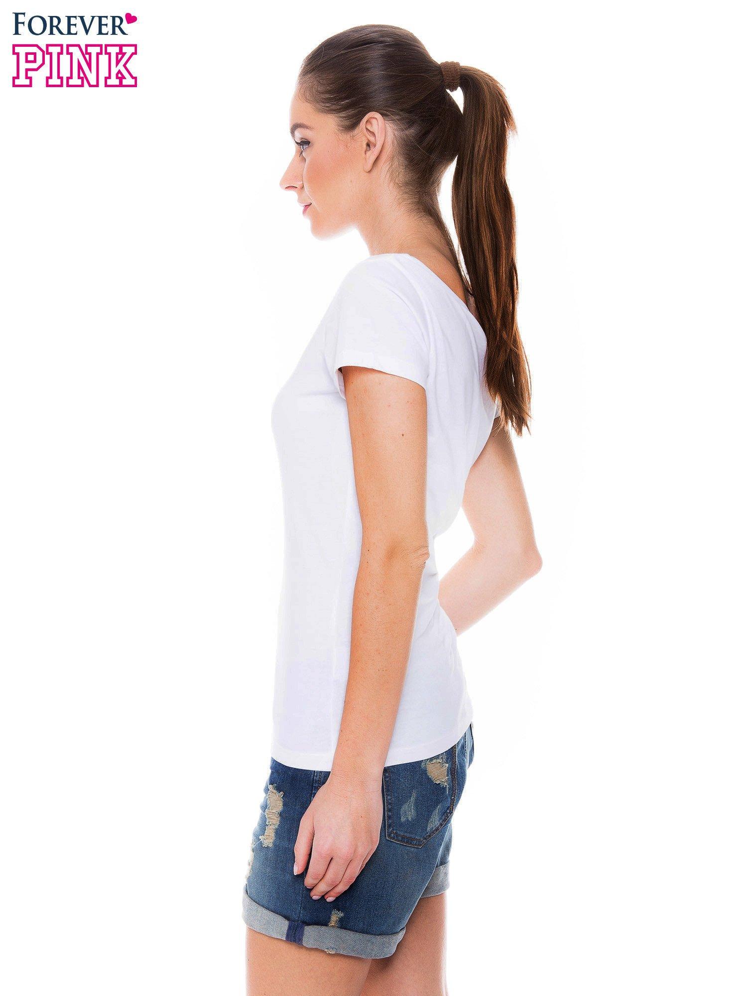 Biały basicowy t-shirt z okrągłym dekoltem                                  zdj.                                  2