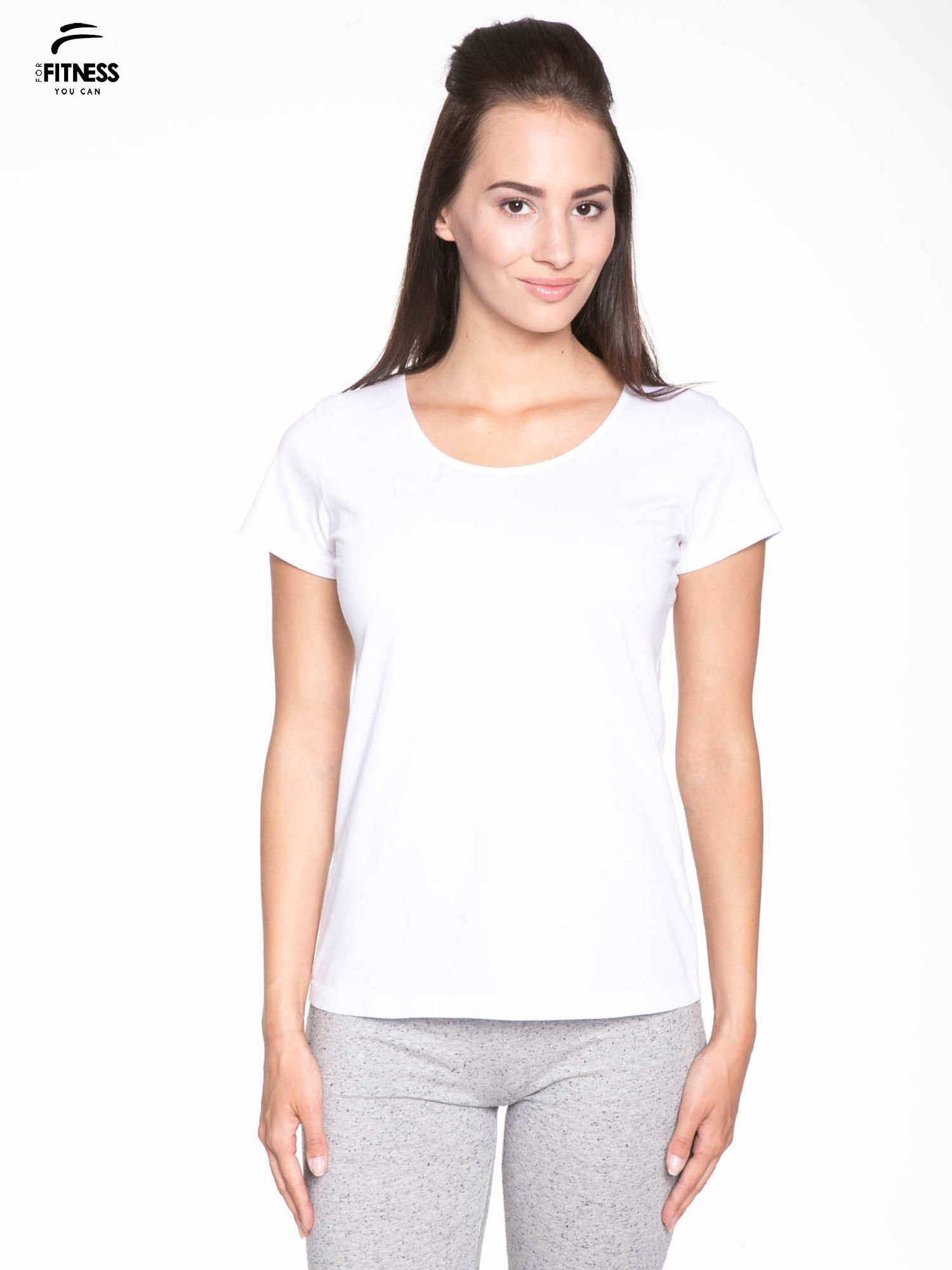 Biały bawełniany t-shirt damski typu basic                                  zdj.                                  1