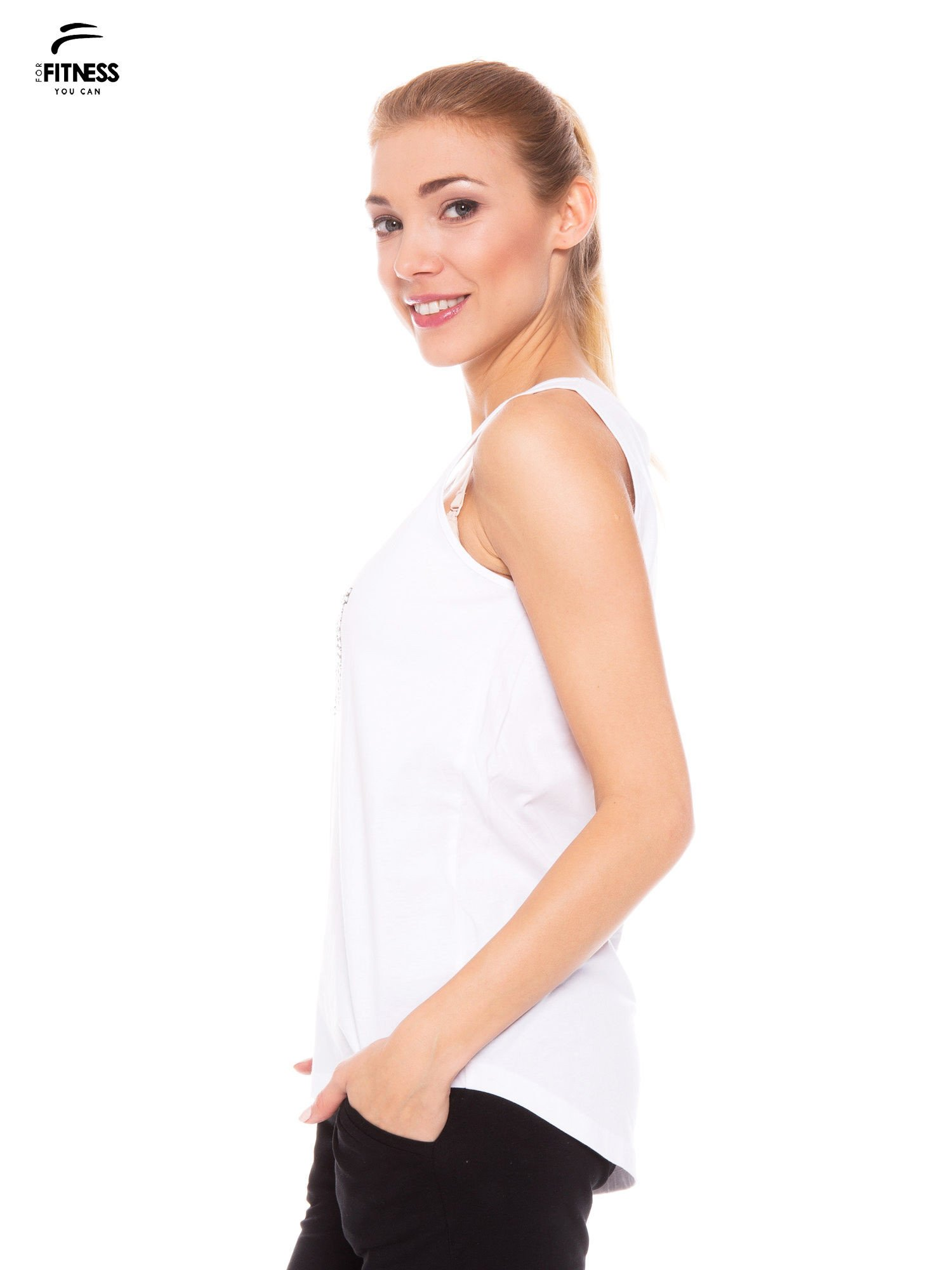 Biały bawełniany top z nadrukiem zdobionym dżetami                                  zdj.                                  3