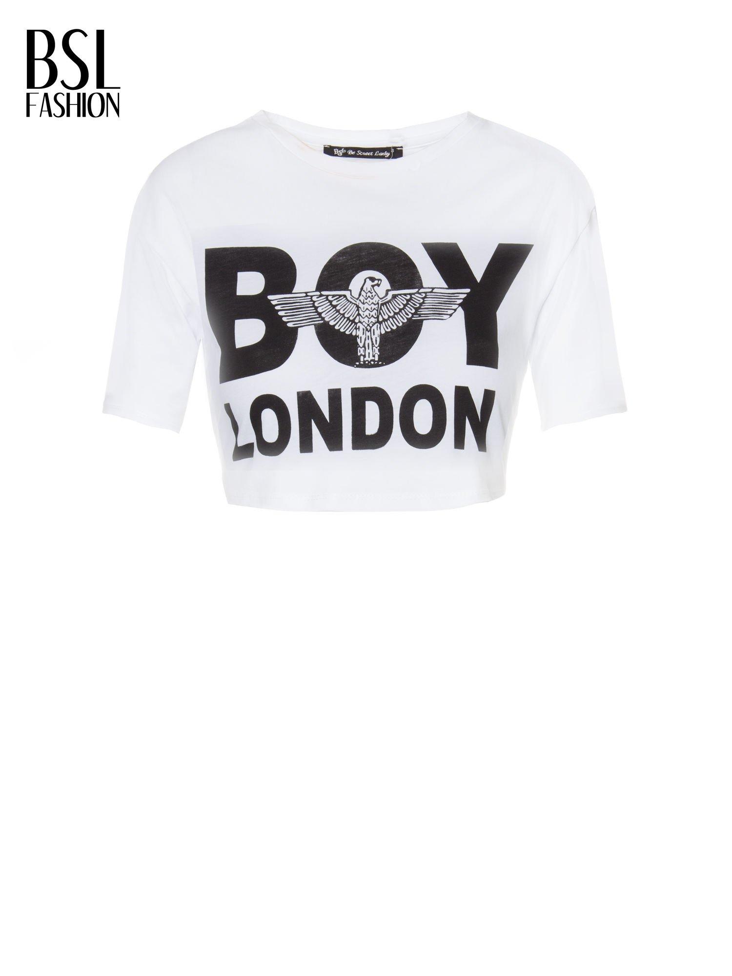 Biały cropped t-shirt z napisem BOY LONDON                                  zdj.                                  2