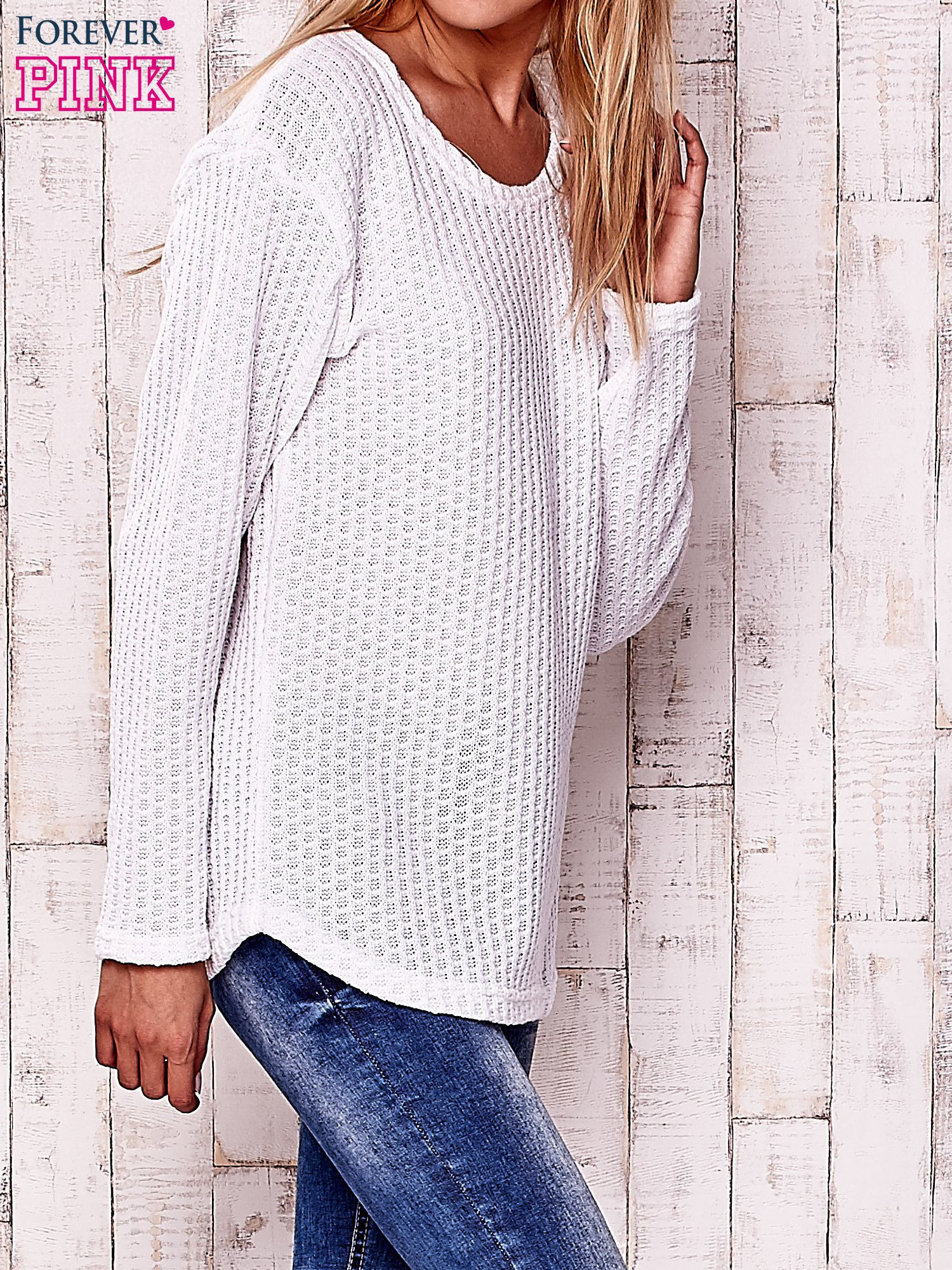 Biały dzianinowy sweter                                   zdj.                                  3