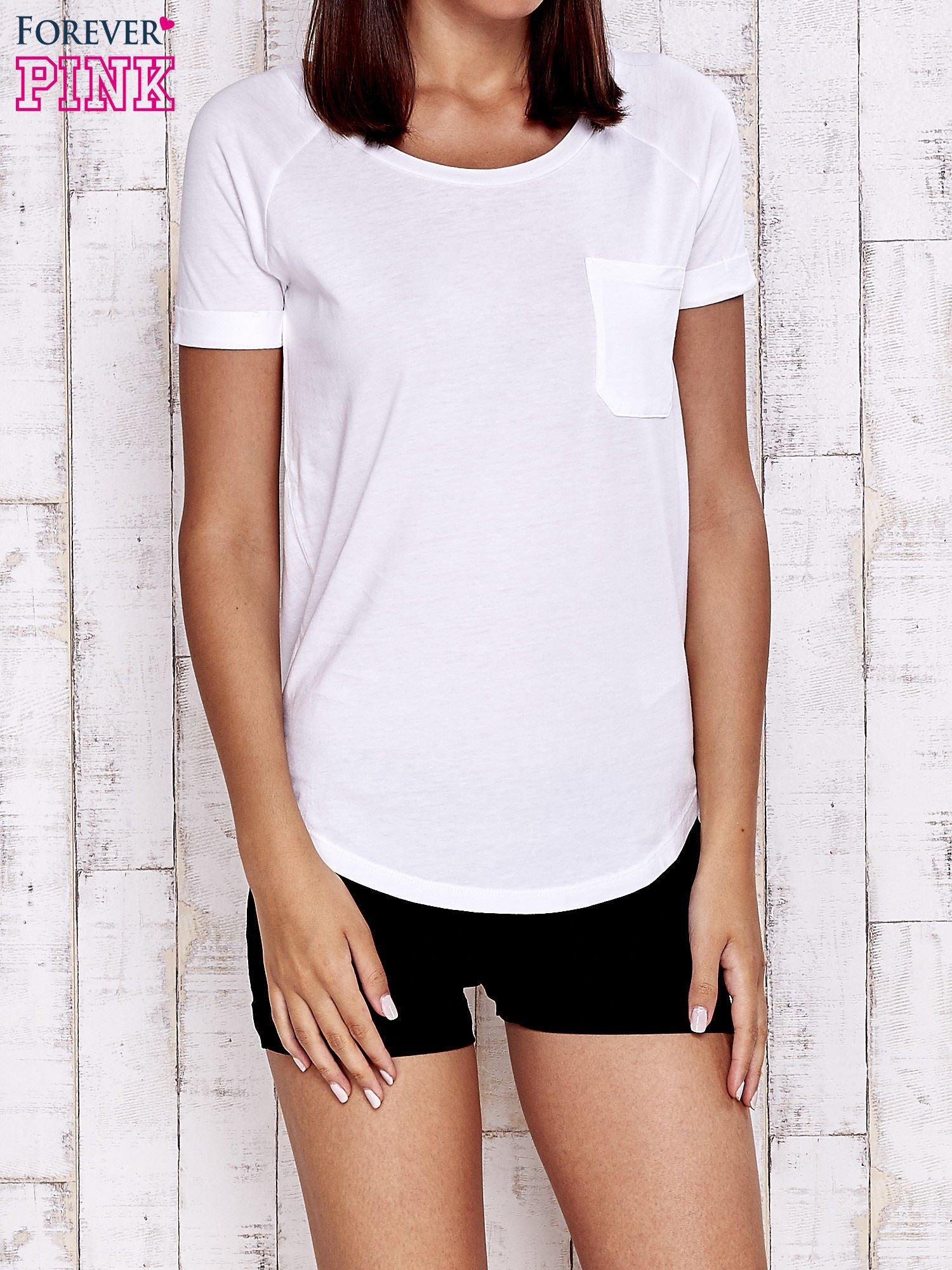 Biały gładki t-shirt basic                                  zdj.                                  1