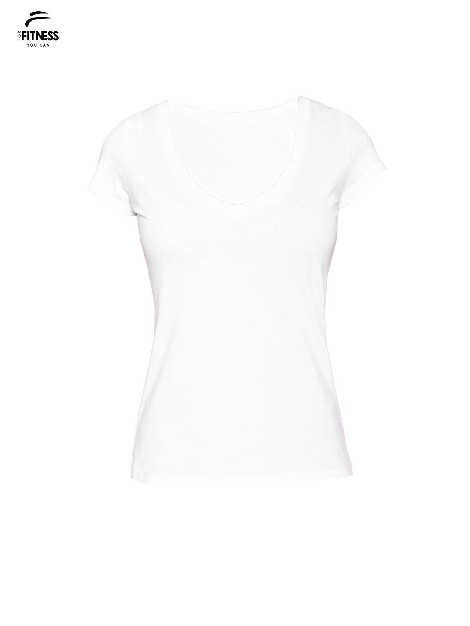 Biały gładki t-shirt z dekoltem w serek                                  zdj.                                  2