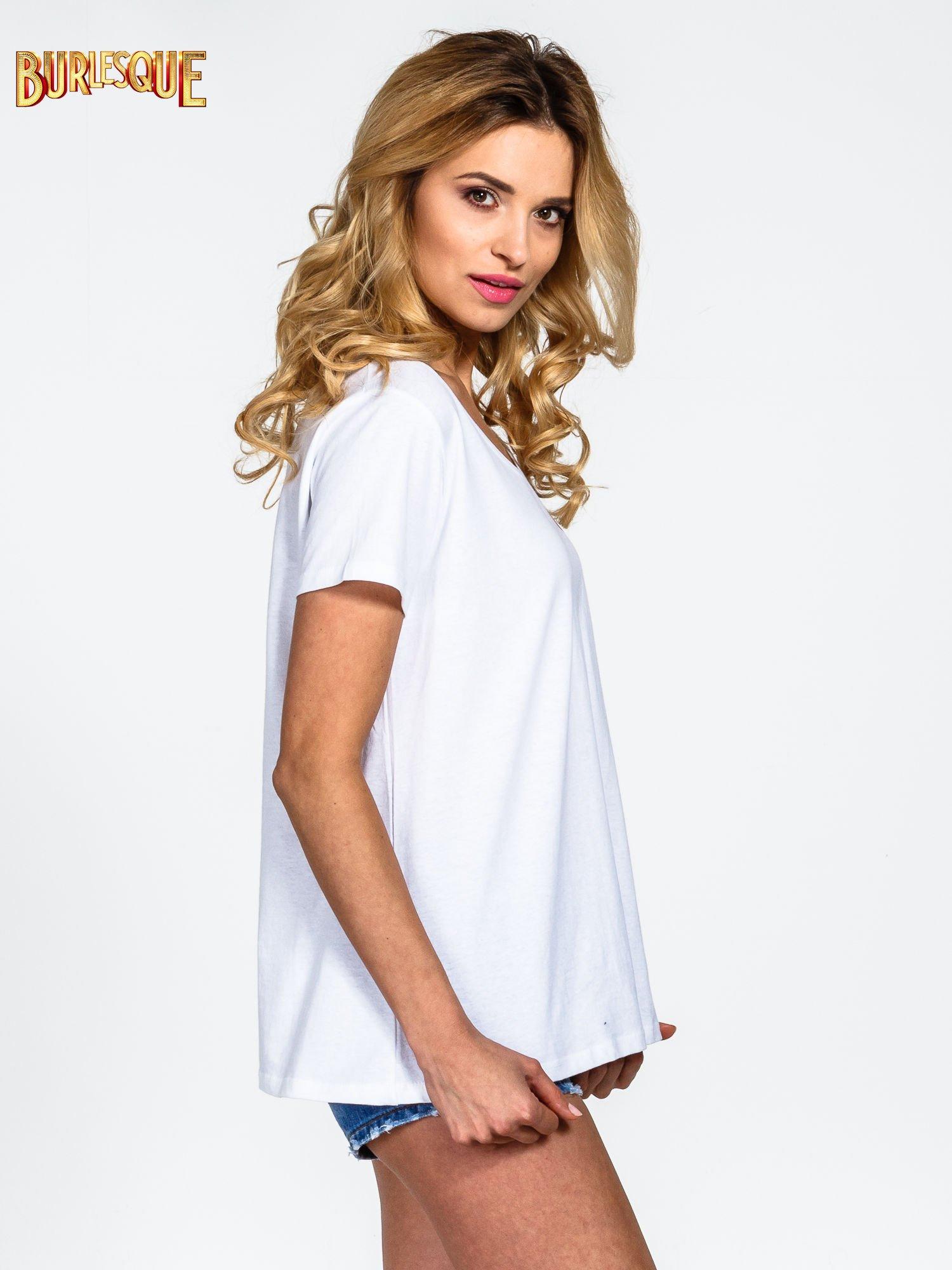 Biały gładki t-shirt z okrągłym dekoltem                                  zdj.                                  3