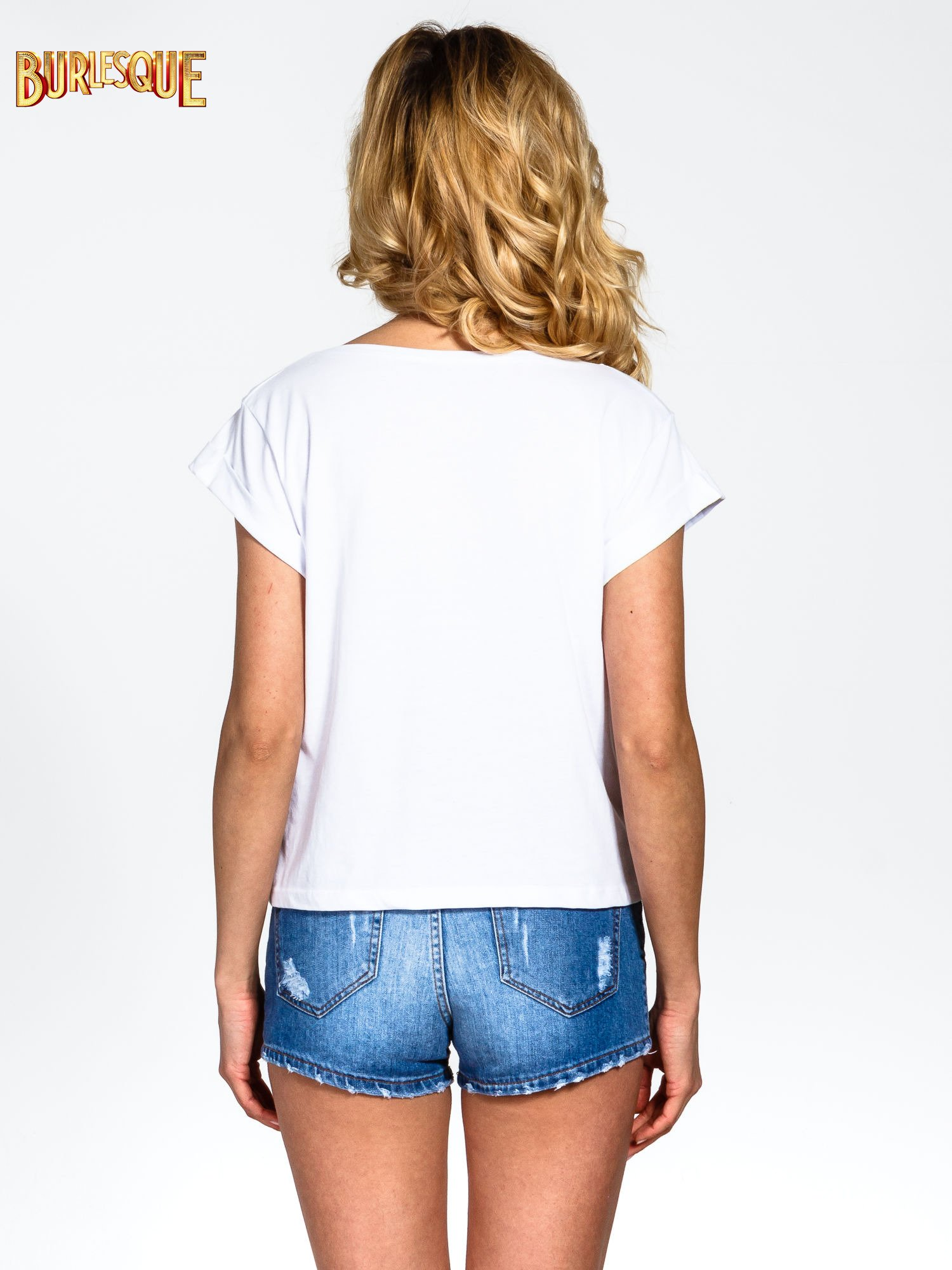 Biały krótki t-shirt z nadrukiem stokrotek i napisem                                  zdj.                                  4