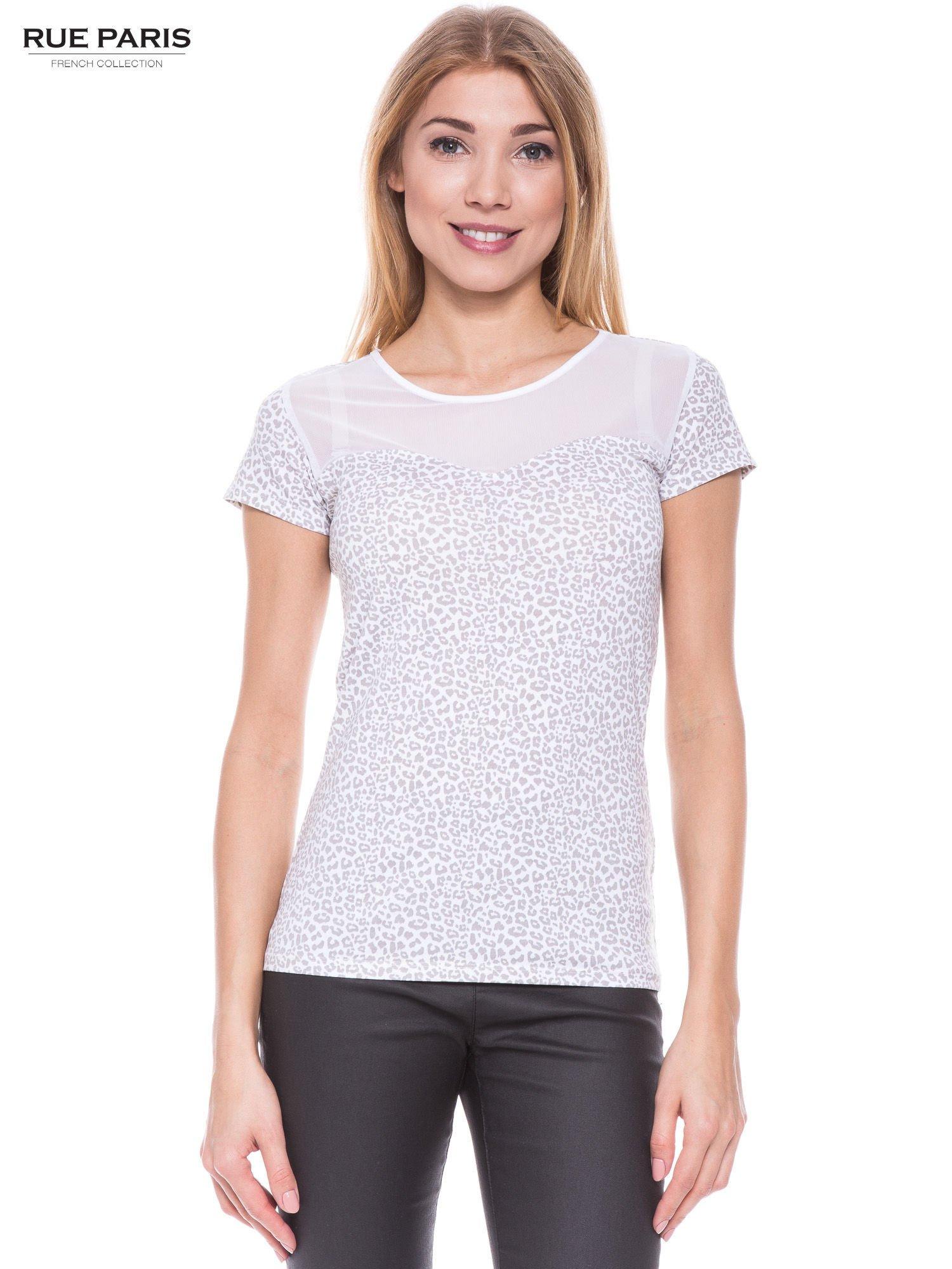 Biały panterkowy t-shirt z transparentnym karczkiem                                  zdj.                                  1