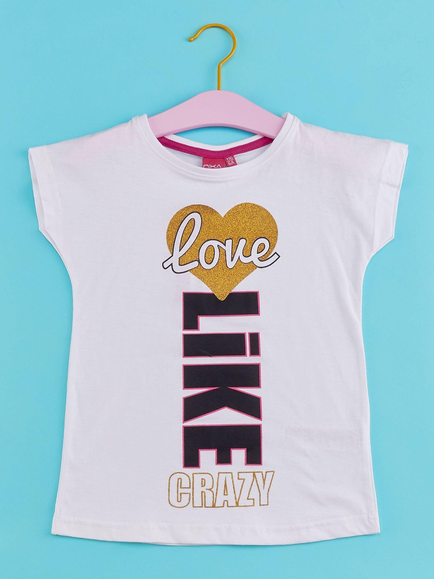 Biały t-shirt dla dziewczynki z napisem LOVE LIKE CRAZY                                  zdj.                                  1