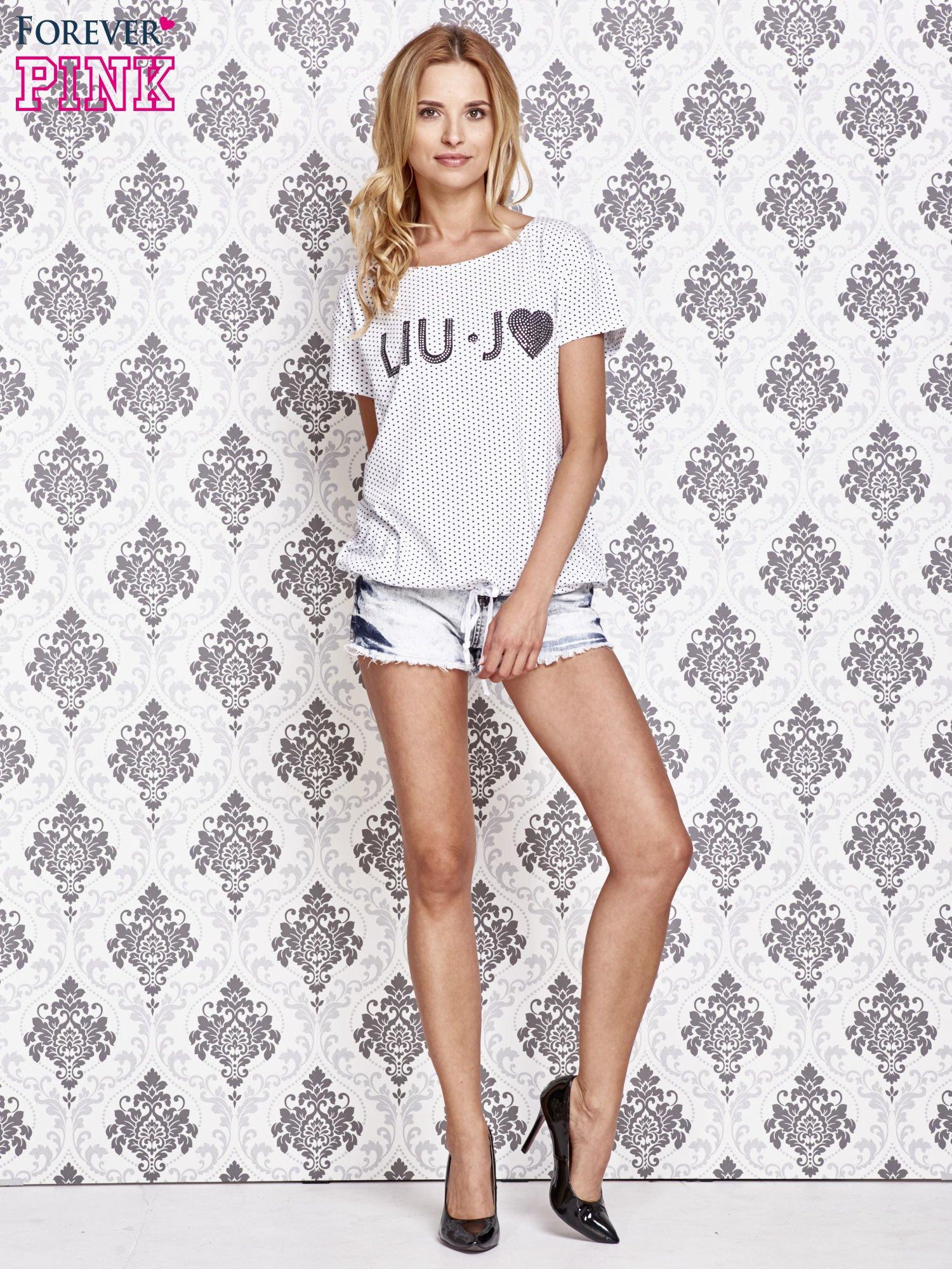 Biały t-shirt w drobne groszki z napisem LIU J❤                                  zdj.                                  2