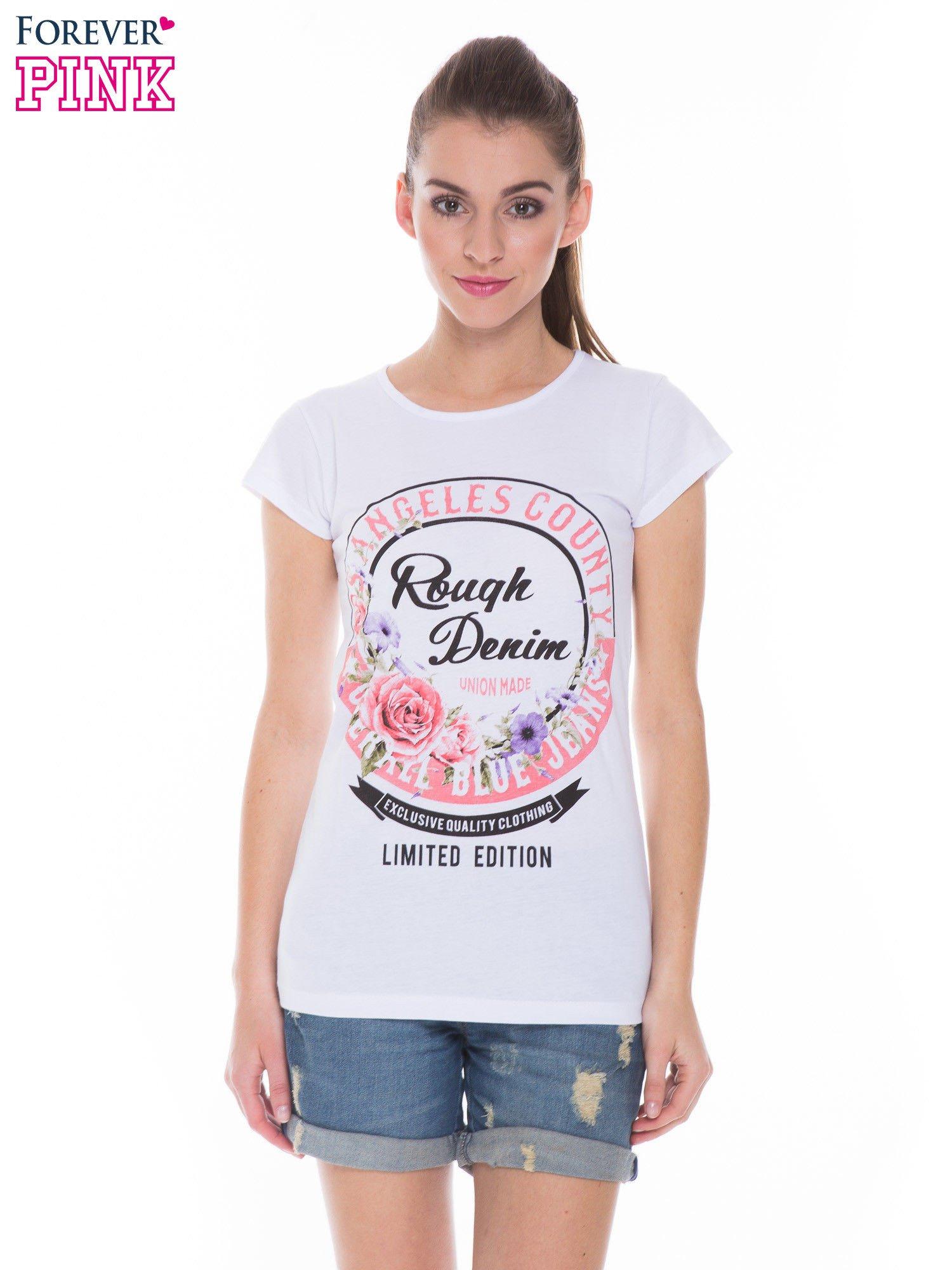 Biały t-shirt z dziewczęcym nadrukiem ROUGH DENIM                                  zdj.                                  1