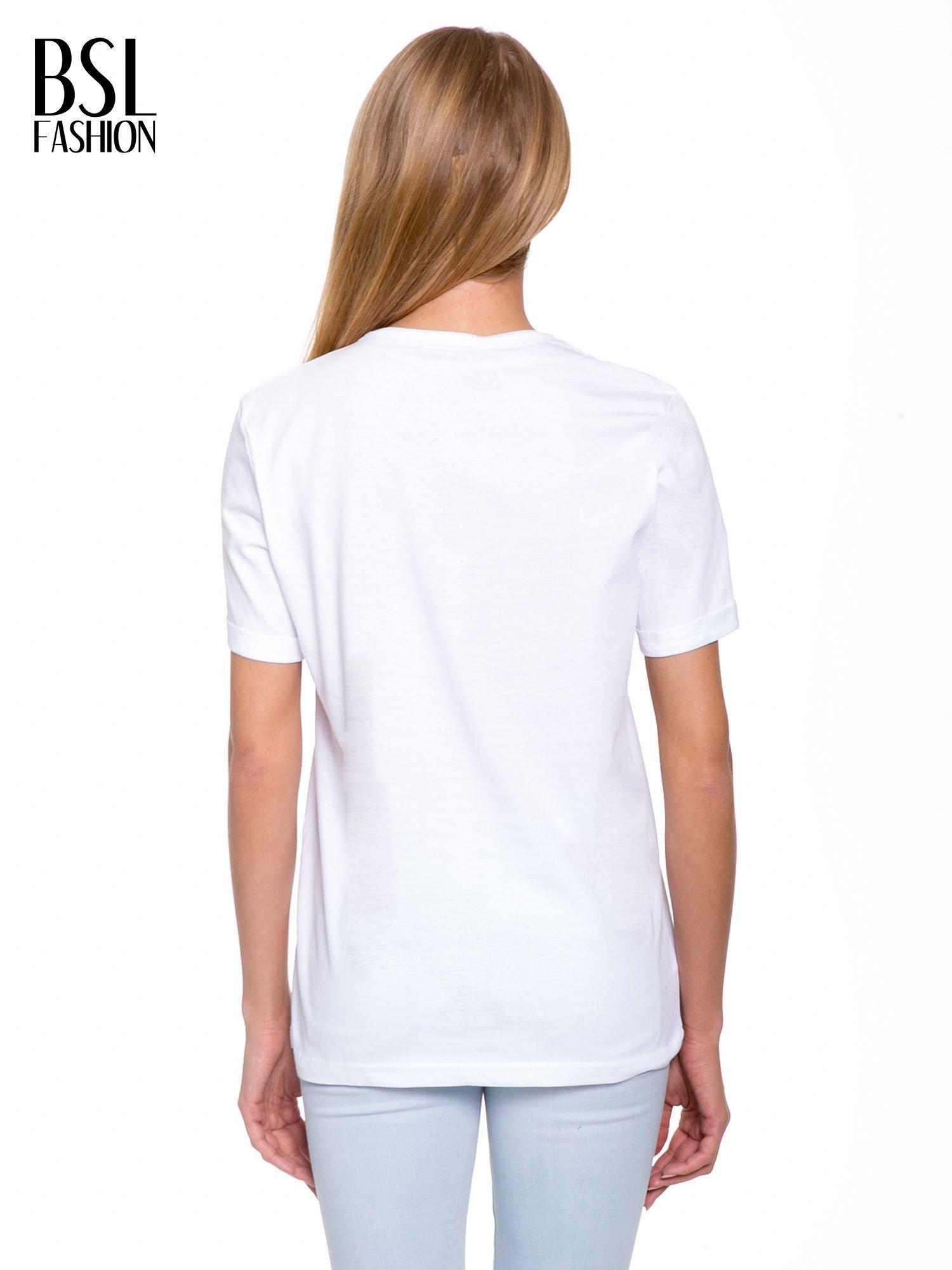 Biały t-shirt z nadrukiem HEROÉS IN PARIS                                  zdj.                                  4