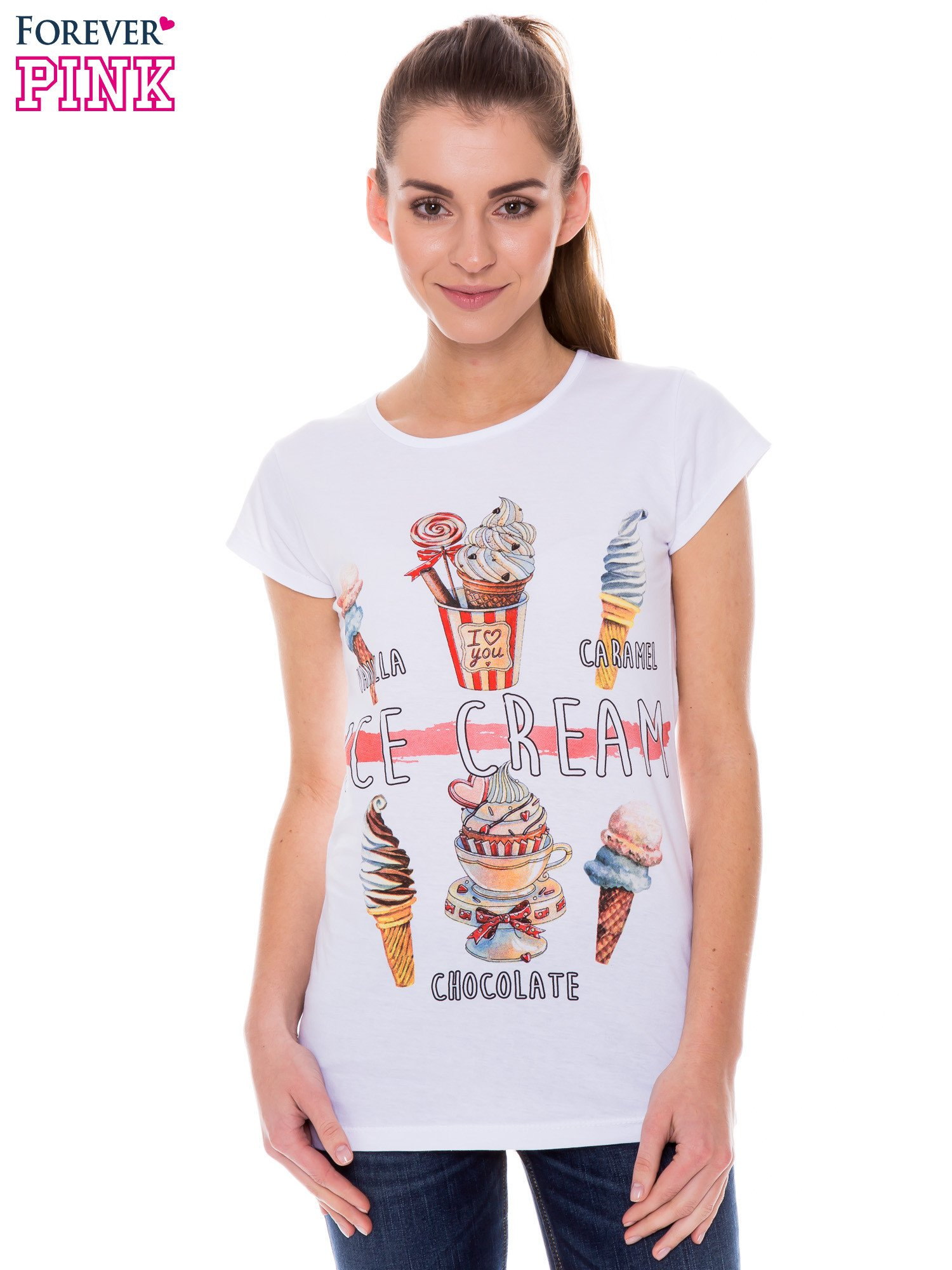 Biały t-shirt z nadrukiem ICE CREAM                                  zdj.                                  1