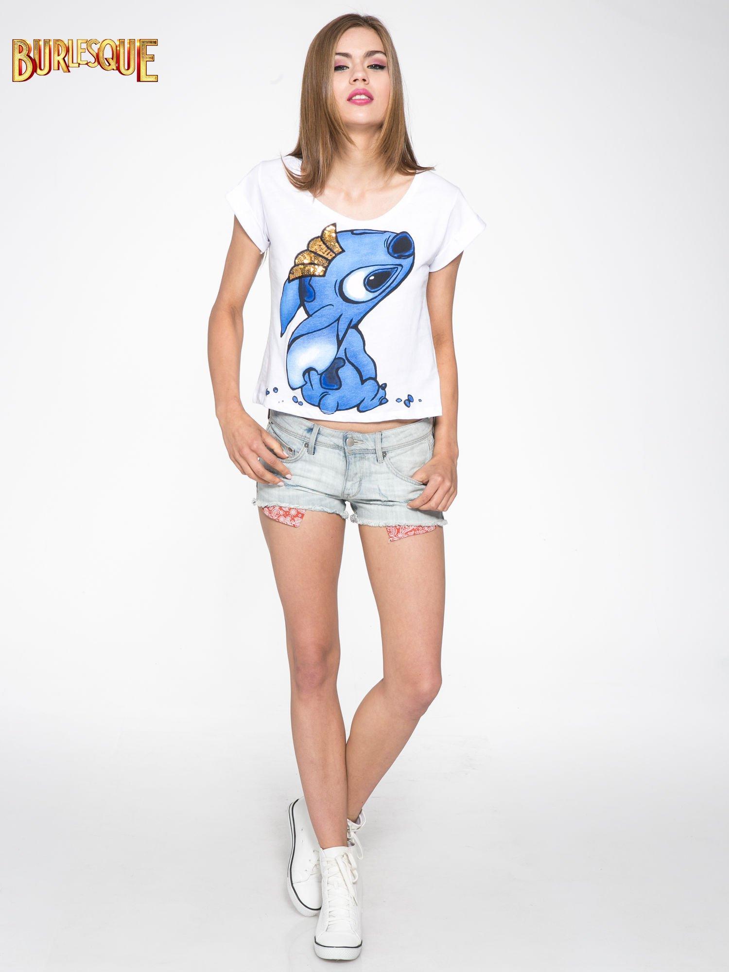 Biały t-shirt z nadrukiem Stich                                  zdj.                                  2