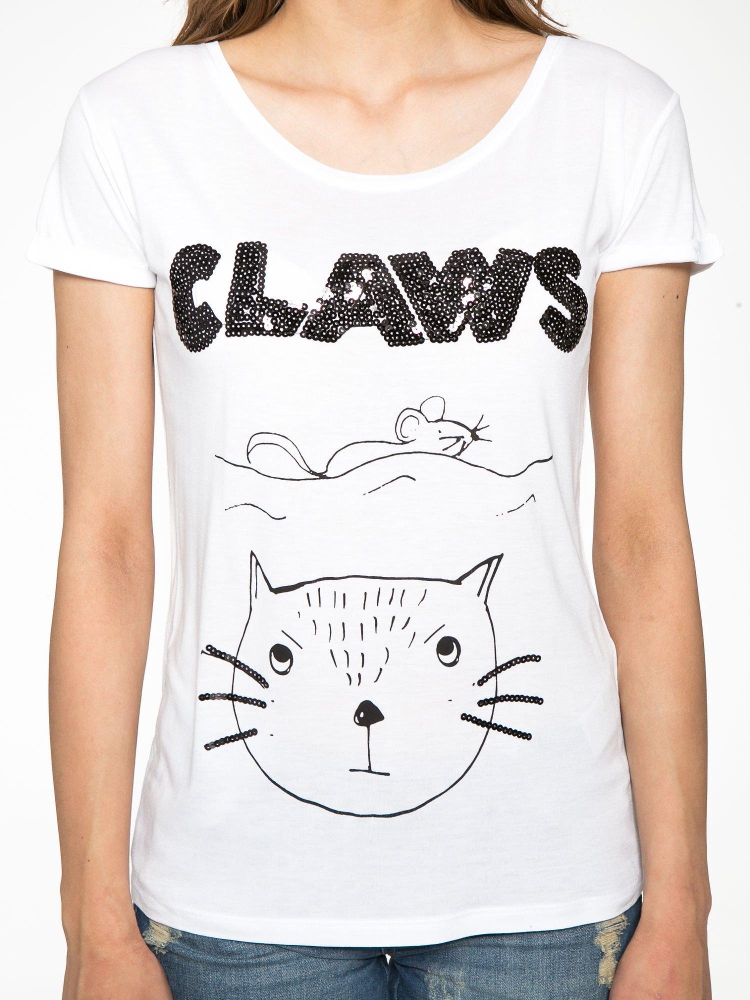 Biały t-shirt z nadrukiem kota i myszy                                  zdj.                                  8