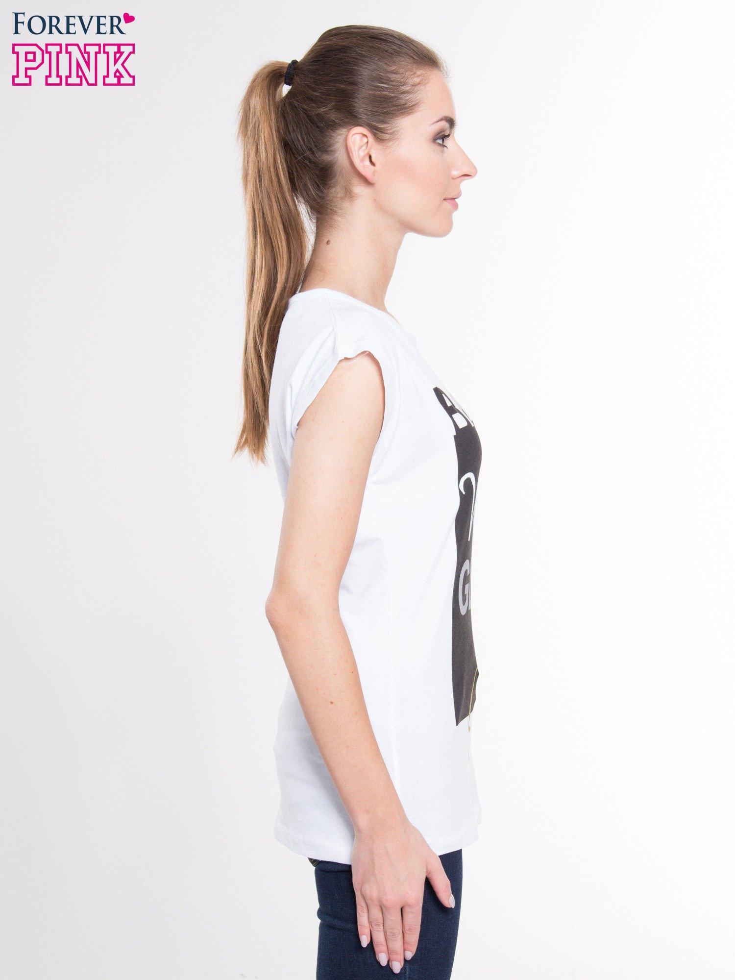 Biały t-shirt z nadrukiem tekstowym z efektem glitter                                  zdj.                                  2