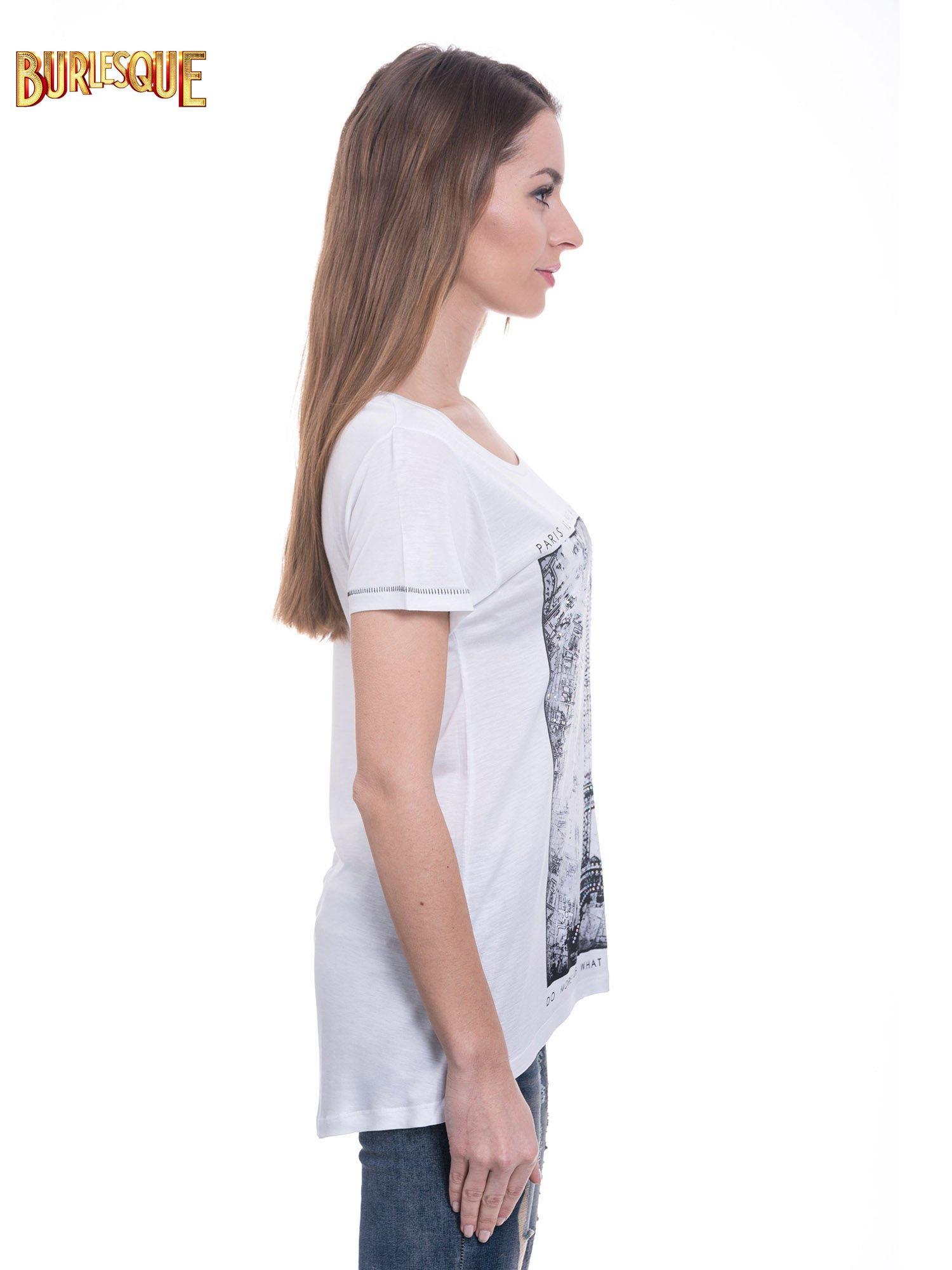 Biały t-shirt z nadrukiem wieży Eiffla                                  zdj.                                  4