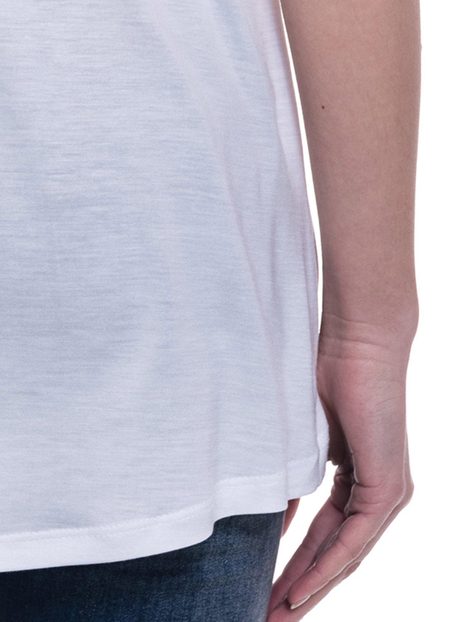 Biały t-shirt z nadrukiem wieży Eiffla                                  zdj.                                  7
