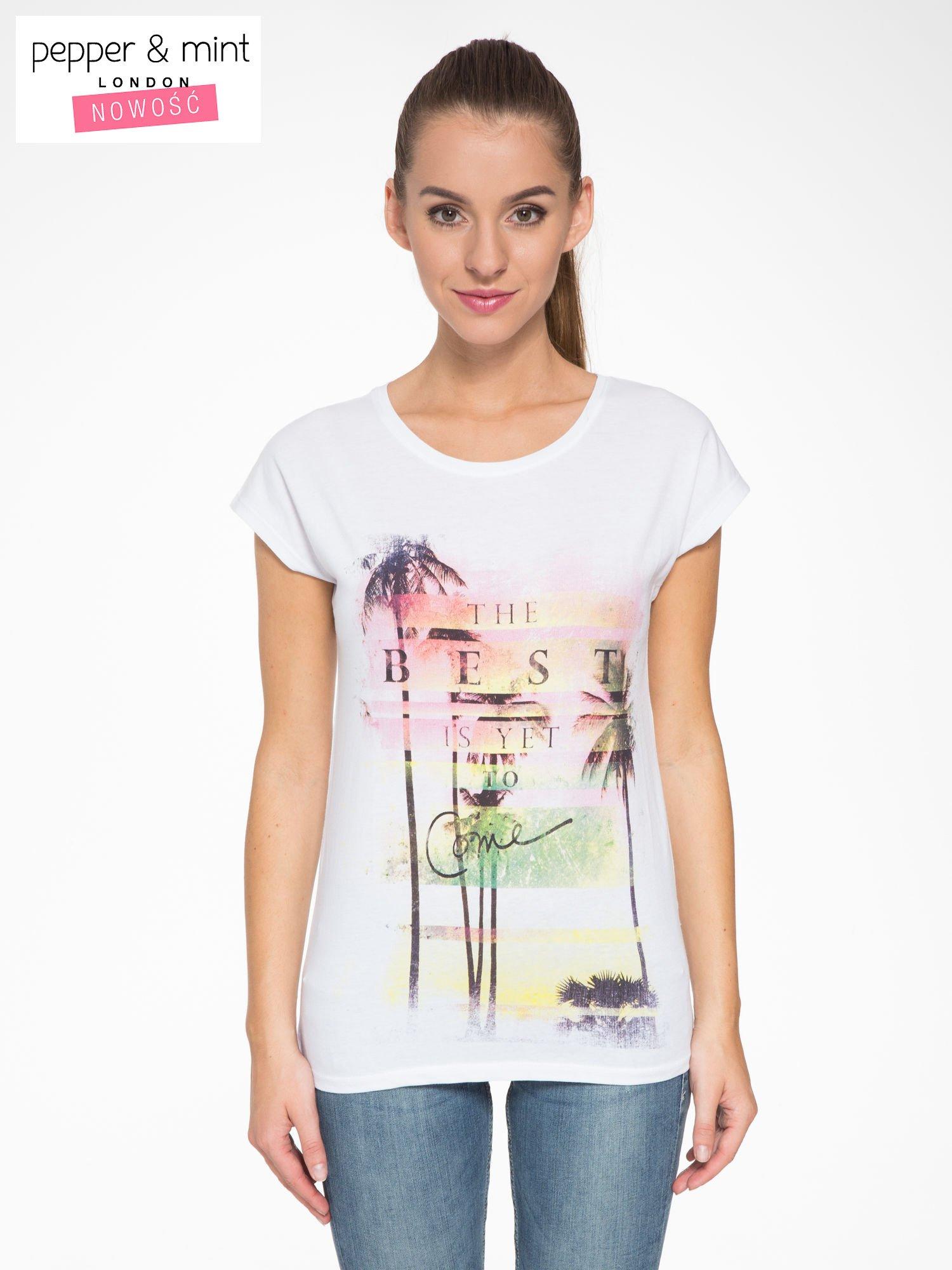 Biały t-shirt z napisem THE BEST IS YET TO COME                                  zdj.                                  1