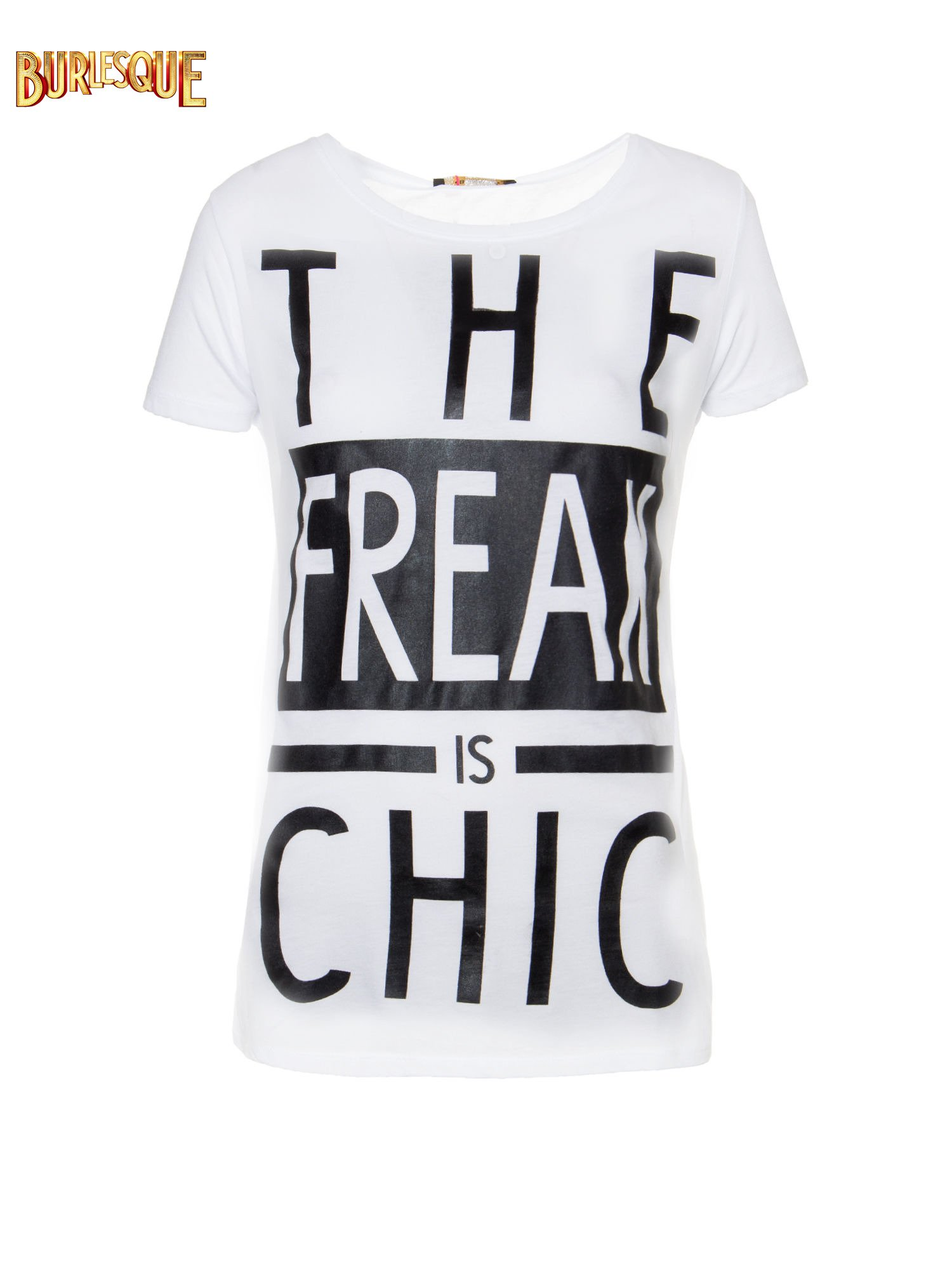 Biały t-shirt z napisem THE FREAK IS CHIC                                  zdj.                                  1