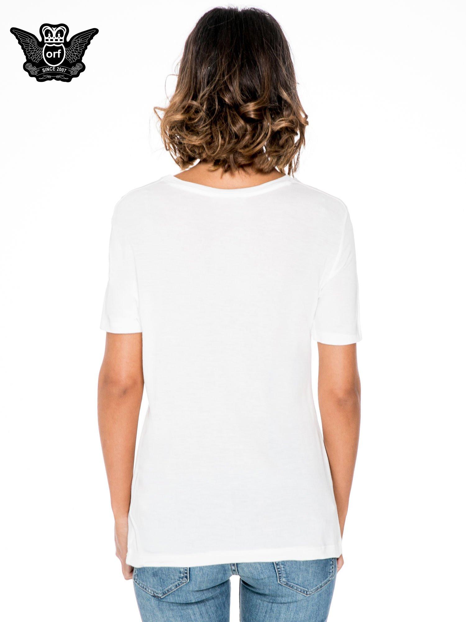 Biały t-shirt z napisem WARRIORS ROLLER SKATERS                                  zdj.                                  4