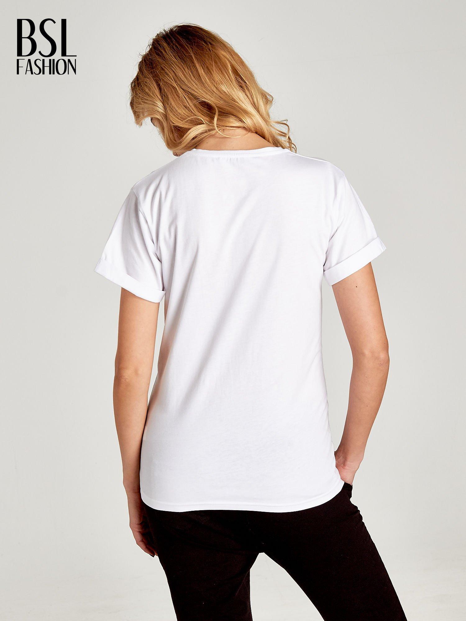 Biały t-shirt z napisem w minimalistycznym stylu NICCE LONDON                                  zdj.                                  4