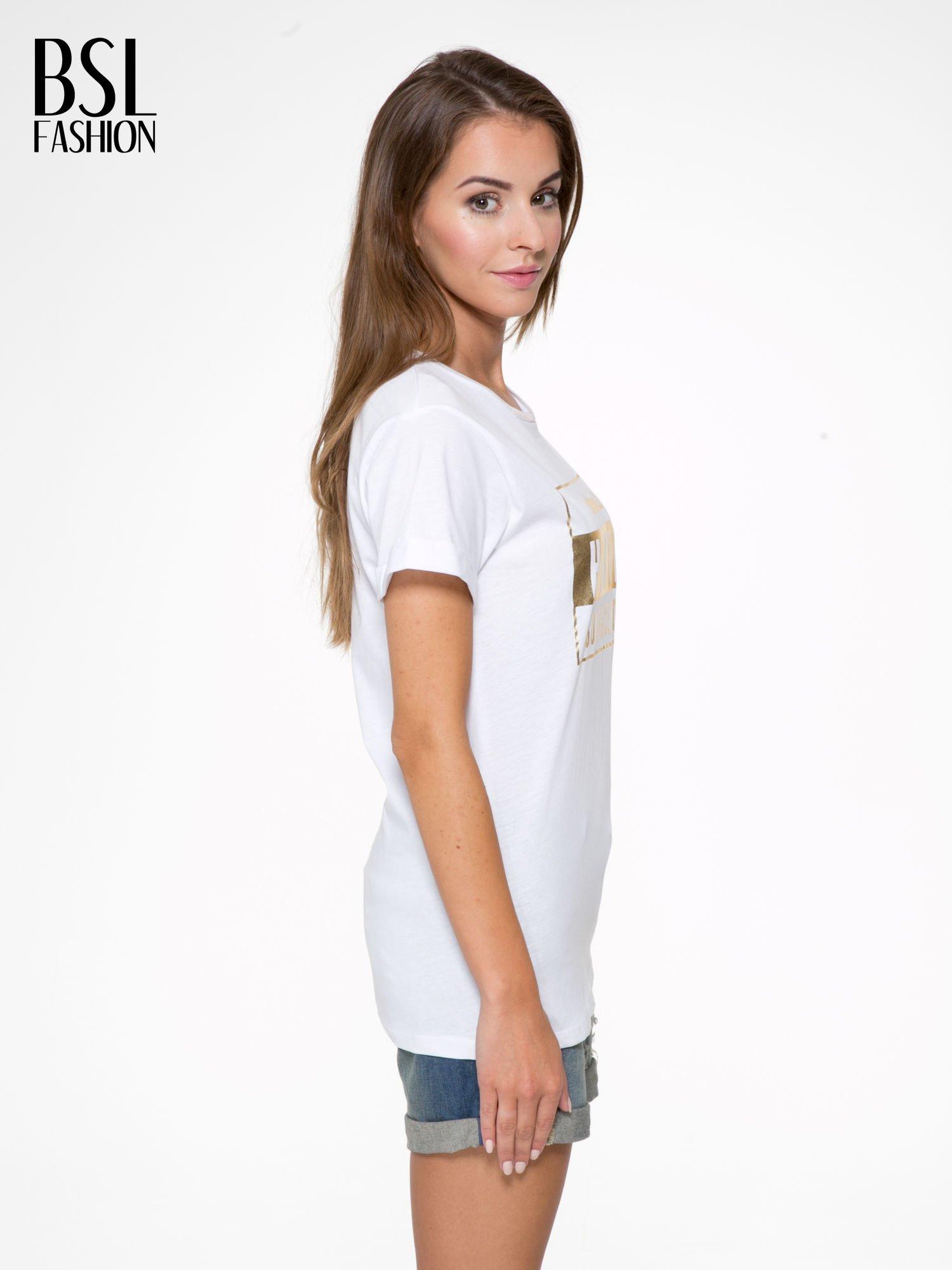 Biały t-shirt ze złotym napisem HOMIES SOUTH CENTRAL                                  zdj.                                  3