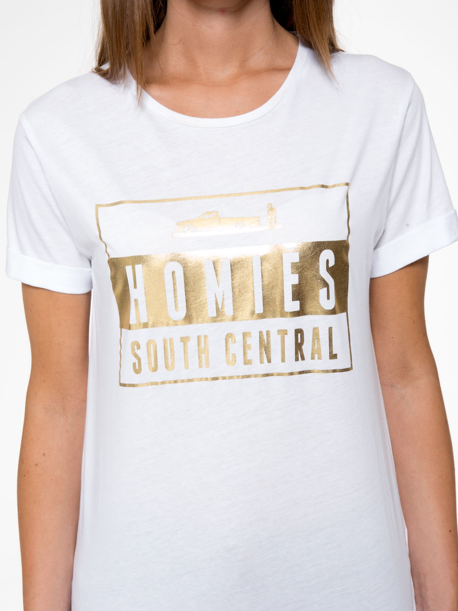 Biały t-shirt ze złotym napisem HOMIES SOUTH CENTRAL                                  zdj.                                  7