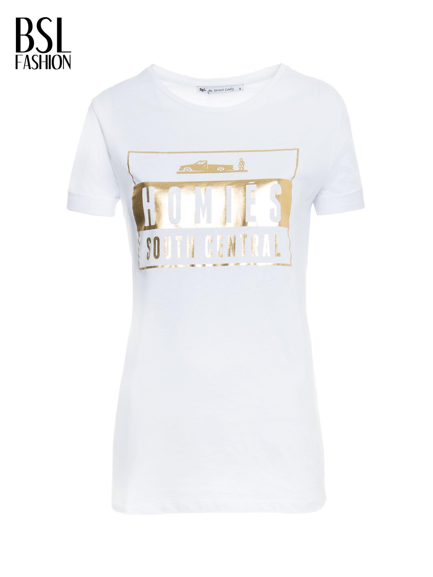 Biały t-shirt ze złotym napisem HOMIES SOUTH CENTRAL                                  zdj.                                  2