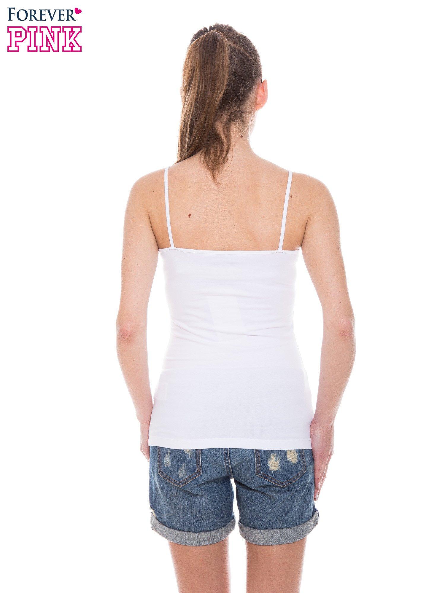 Biały top na cienkich ramiączkach                                  zdj.                                  3