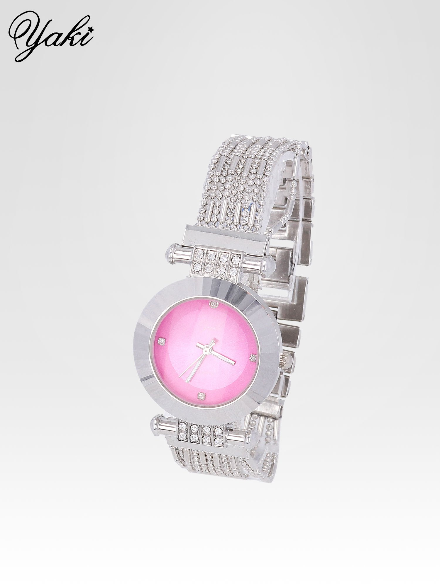 Biżuteryjny srebrny zegarek damski z różową tarczą                                  zdj.                                  2