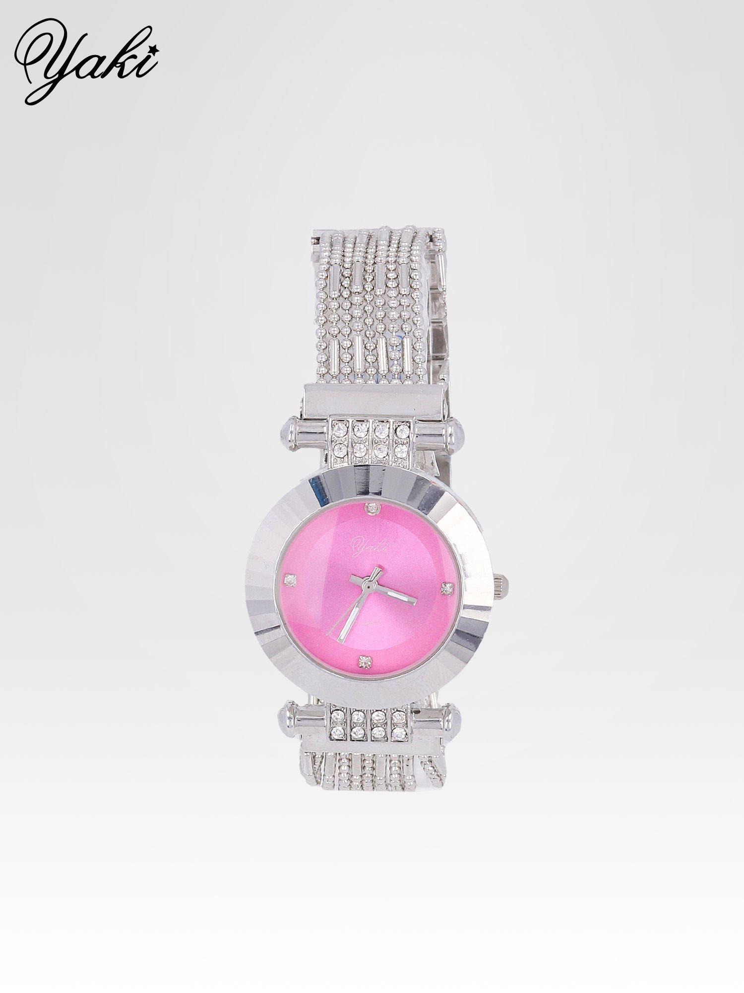 Biżuteryjny srebrny zegarek damski z różową tarczą                                  zdj.                                  1