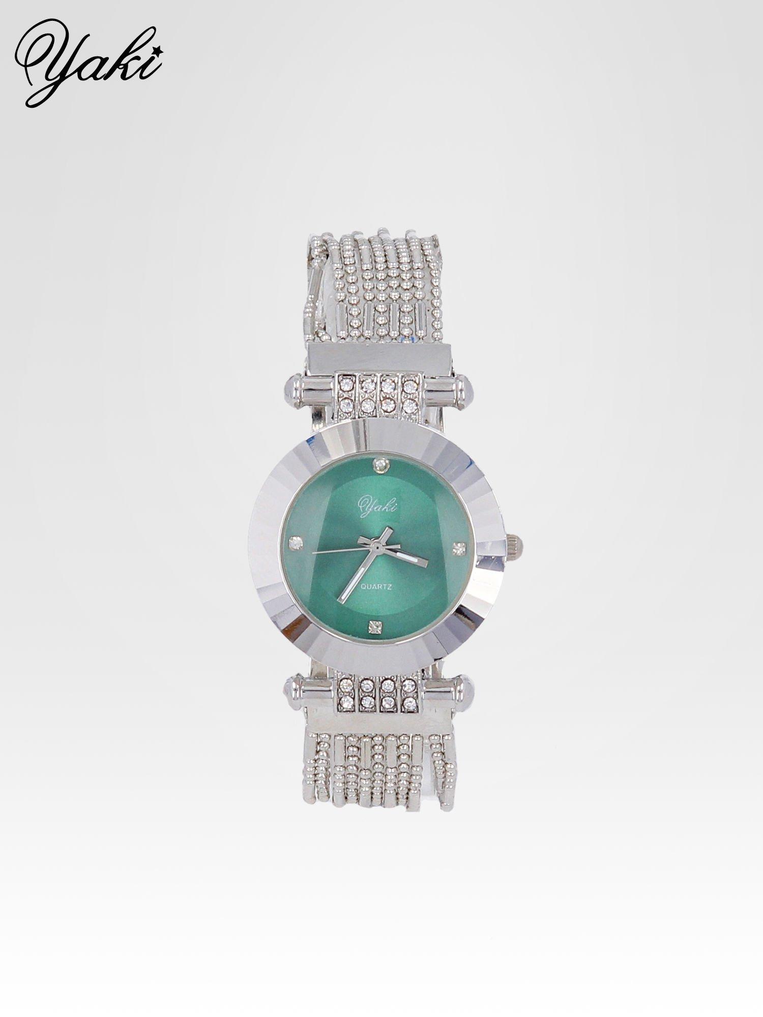 Biżuteryjny srebrny zegarek damski z zieloną tarczą                                  zdj.                                  1