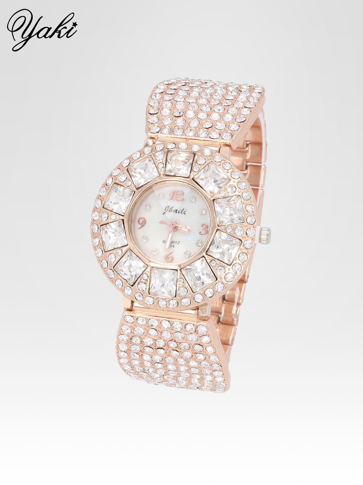 Biżuteryjny zegarek damski z różowego złota na bransolecie z cyrkoniami i kryształkami                                  zdj.                                  2