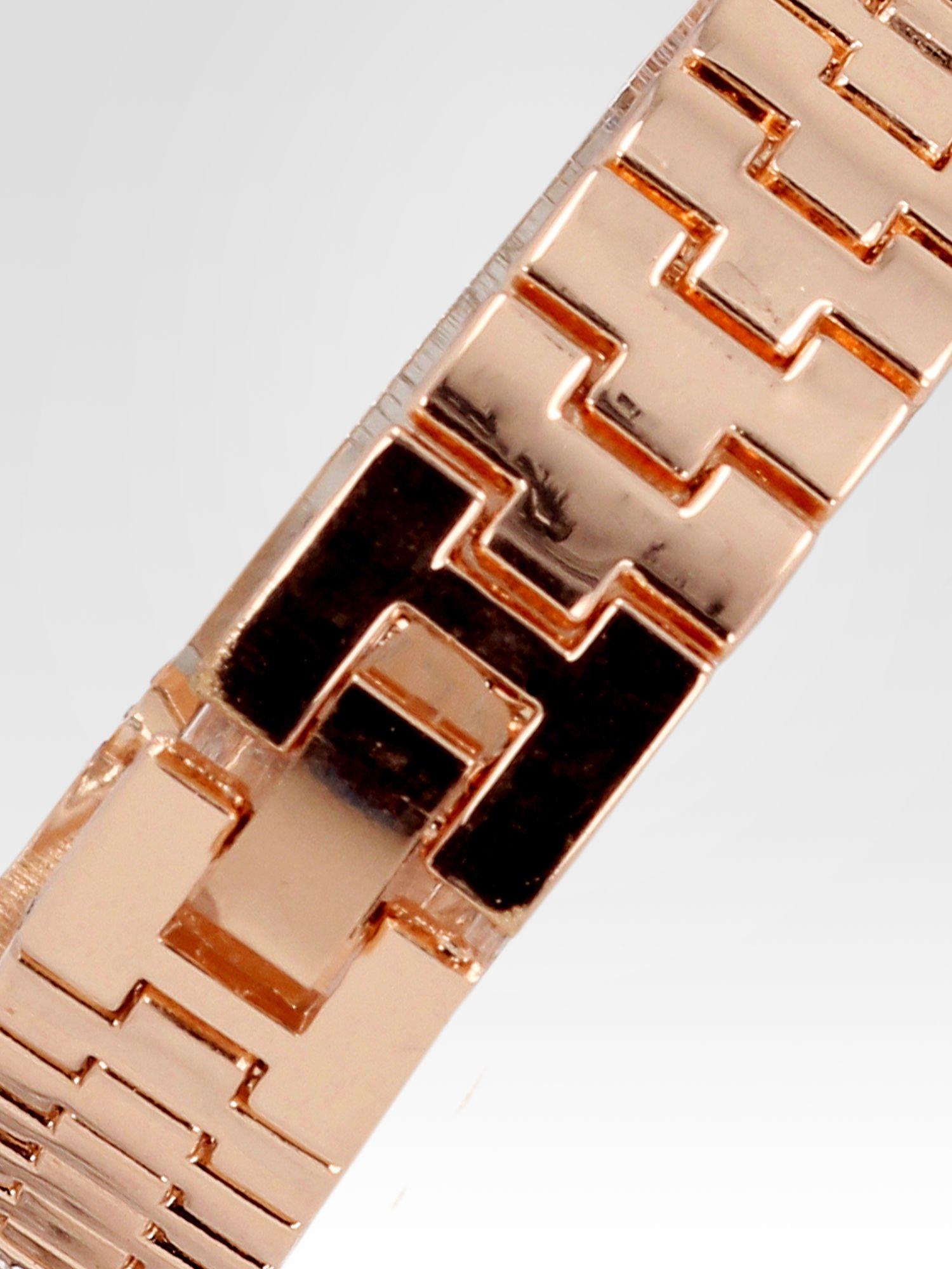 Biżuteryjny zegarek damski z różowego złota na bransolecie z cyrkoniami i kryształkami                                  zdj.                                  4