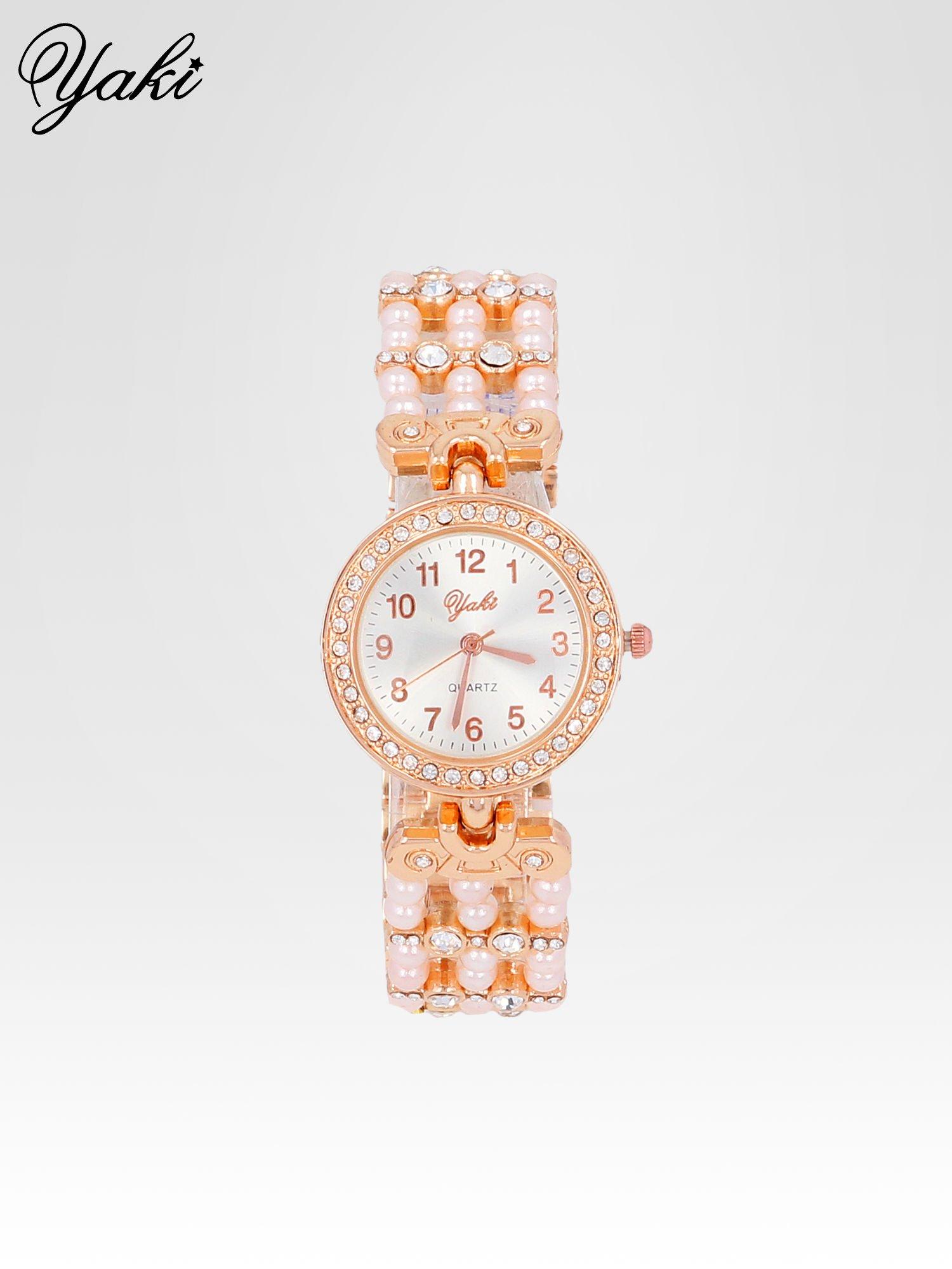 Biżuteryjny zegarek na bransolecie z cyrkoniami w kolorze różowego złota                                  zdj.                                  1