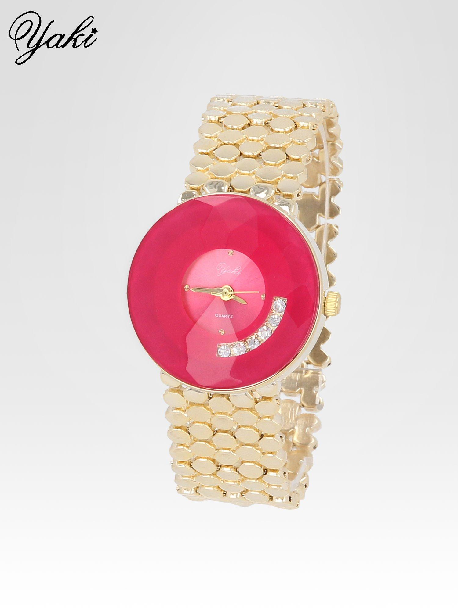 Biżuteryjny złoty zegarek damski z różową tarczą z cyrkoniami                                  zdj.                                  2