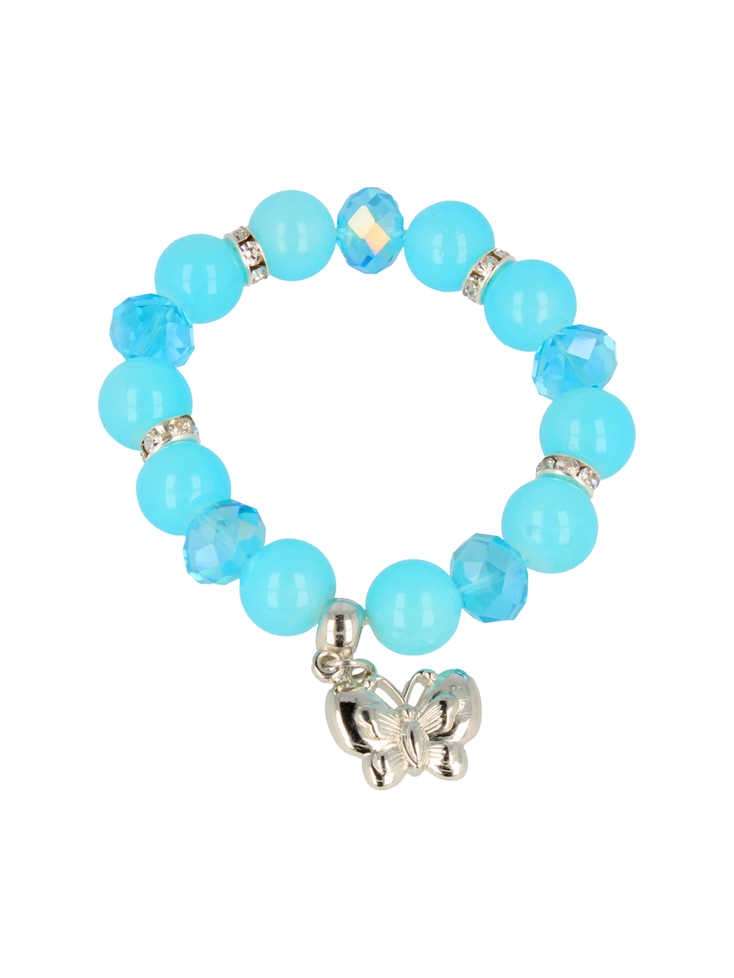 Błękitna Bransoletka koralikowa z zawieszką w kształcie motylka                                  zdj.                                  2