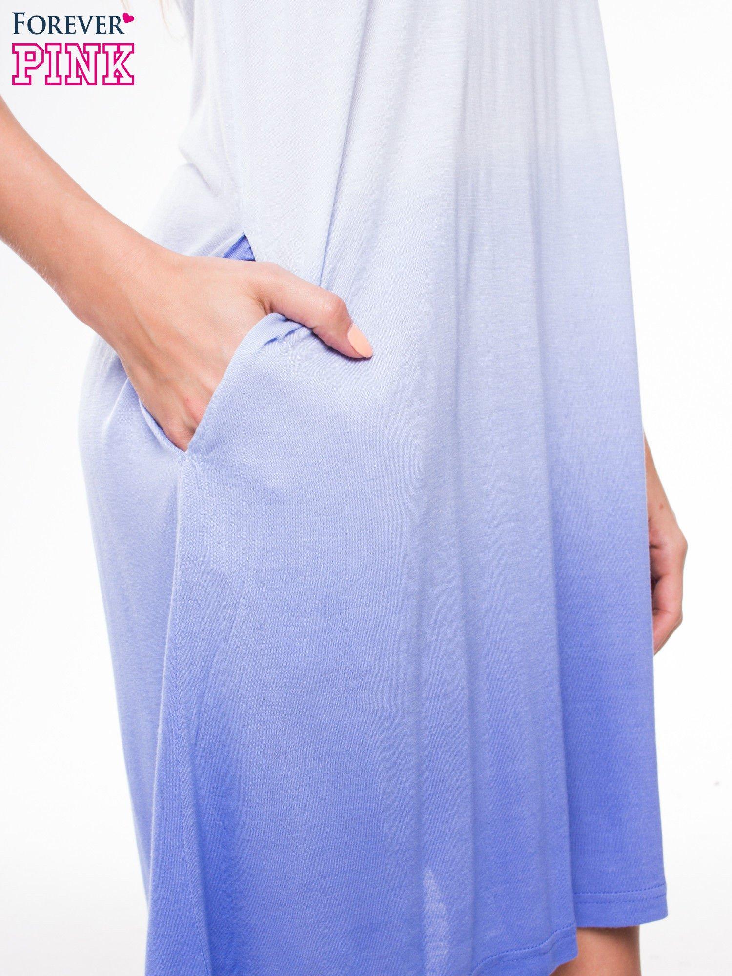 Błękitna sukienka na ramiączka z efektem ombre                                  zdj.                                  6