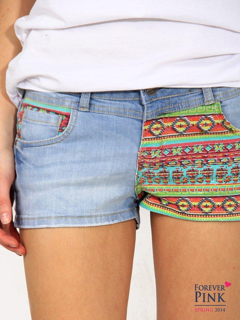 Błękitne szorty jeansowe z azteckim wzorem                                  zdj.                                  2