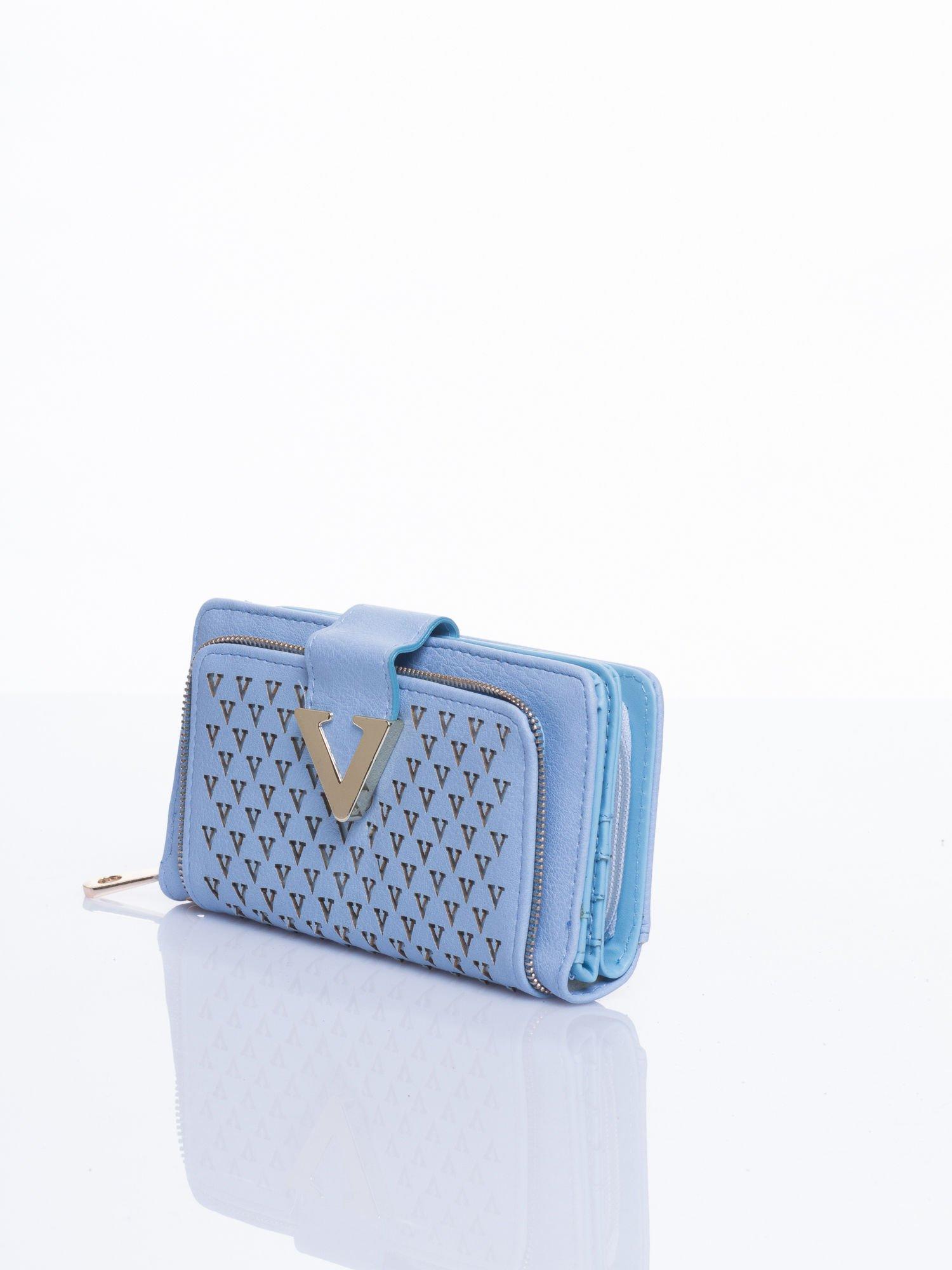 Błękitny portfel ze złotym detalem V                                  zdj.                                  2