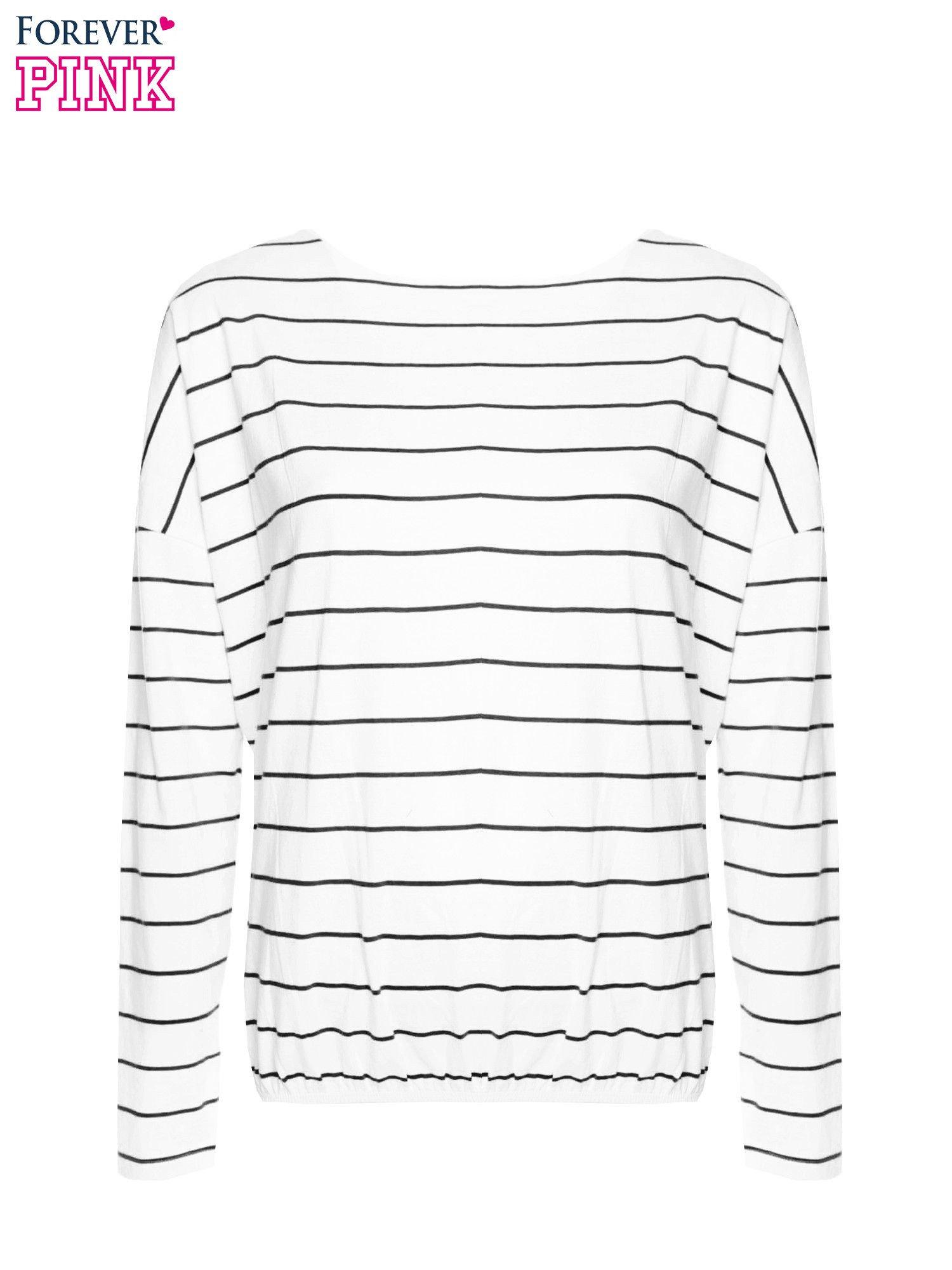 Bluzka w biało-czarne paski z gumką u dołu                                  zdj.                                  4